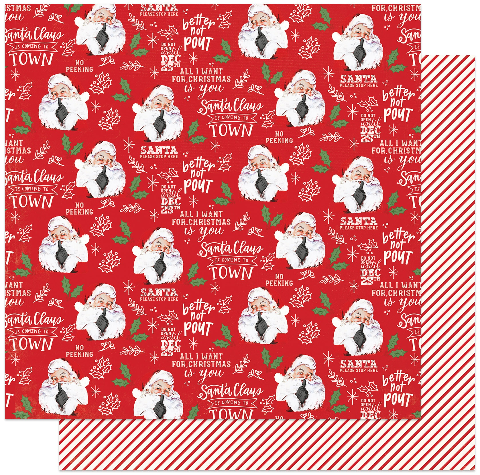 PhotoPlay - North Pole Trading Co. - BETTER NOT POUT - 12x12 Double-Sided Paper