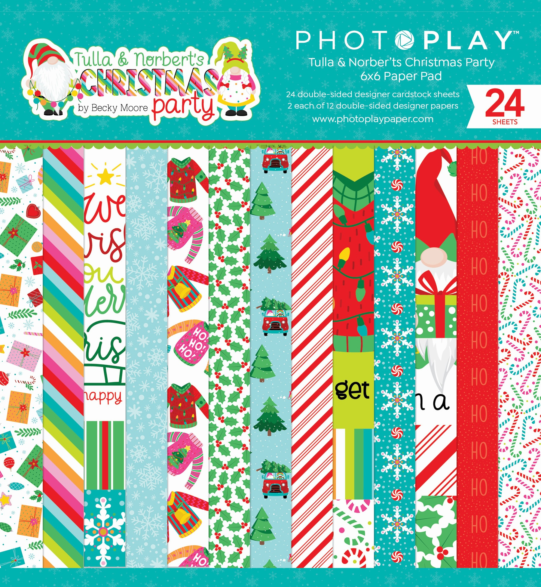 PhotoPlay Double-Sided Paper Pad 6X6 24/Pkg-Tulla & Norbert's Christmas Party