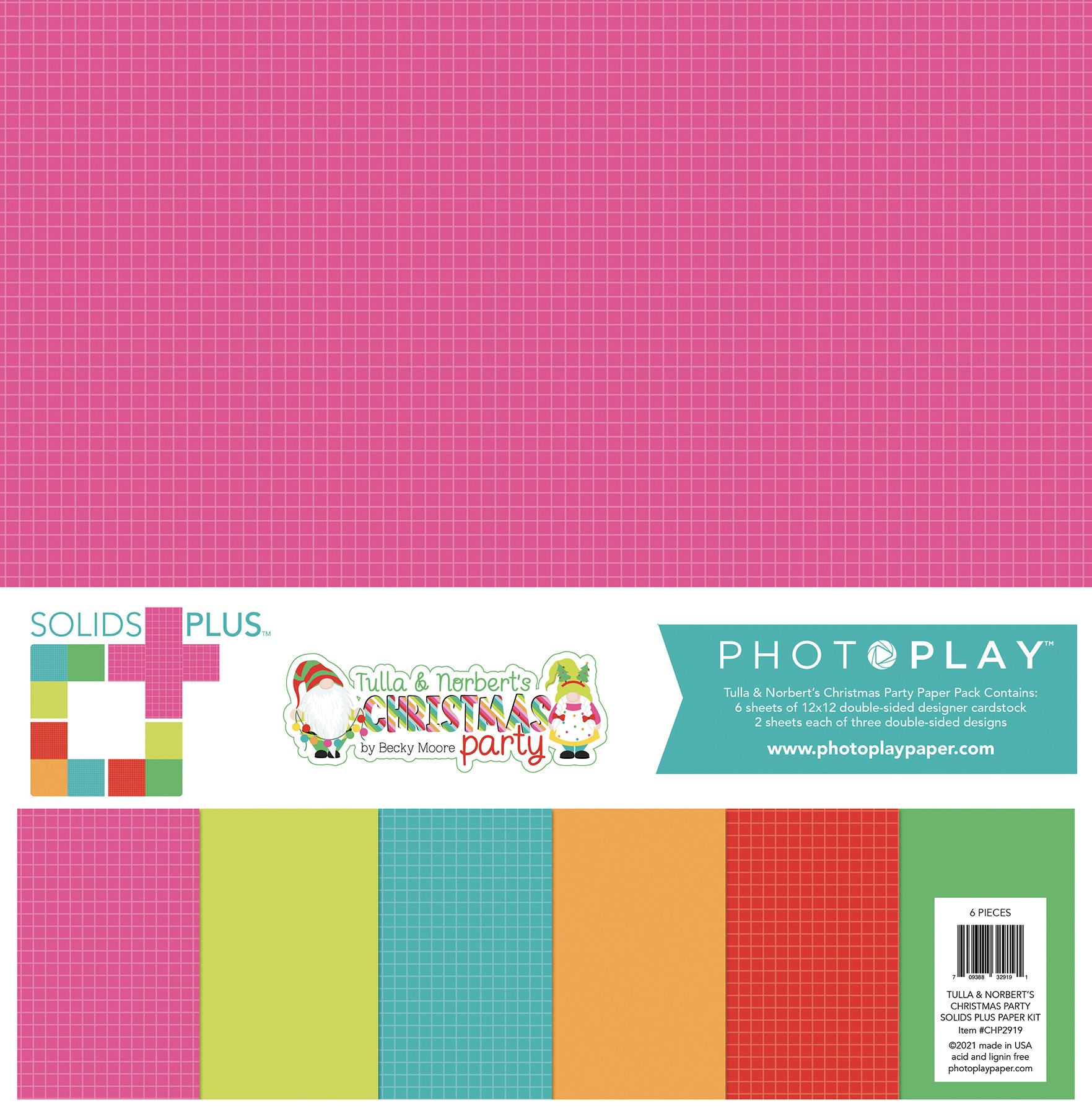Photoplay Double-Sided Solids + Paper Pack 12X12 6/Pkg-Tulla & Norbert's Christmas Party