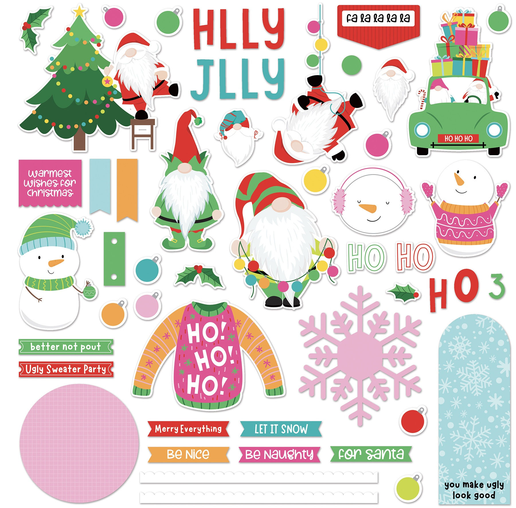 Tulla & Norbet's Christmas Party- Card Kit Stickers