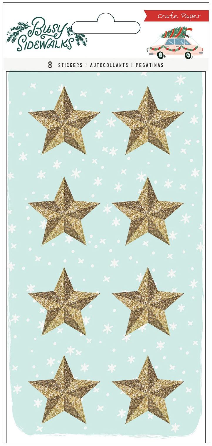 Busy Sidewalks Resin Stickers 8/Pkg-Stars W/Gold Glitter