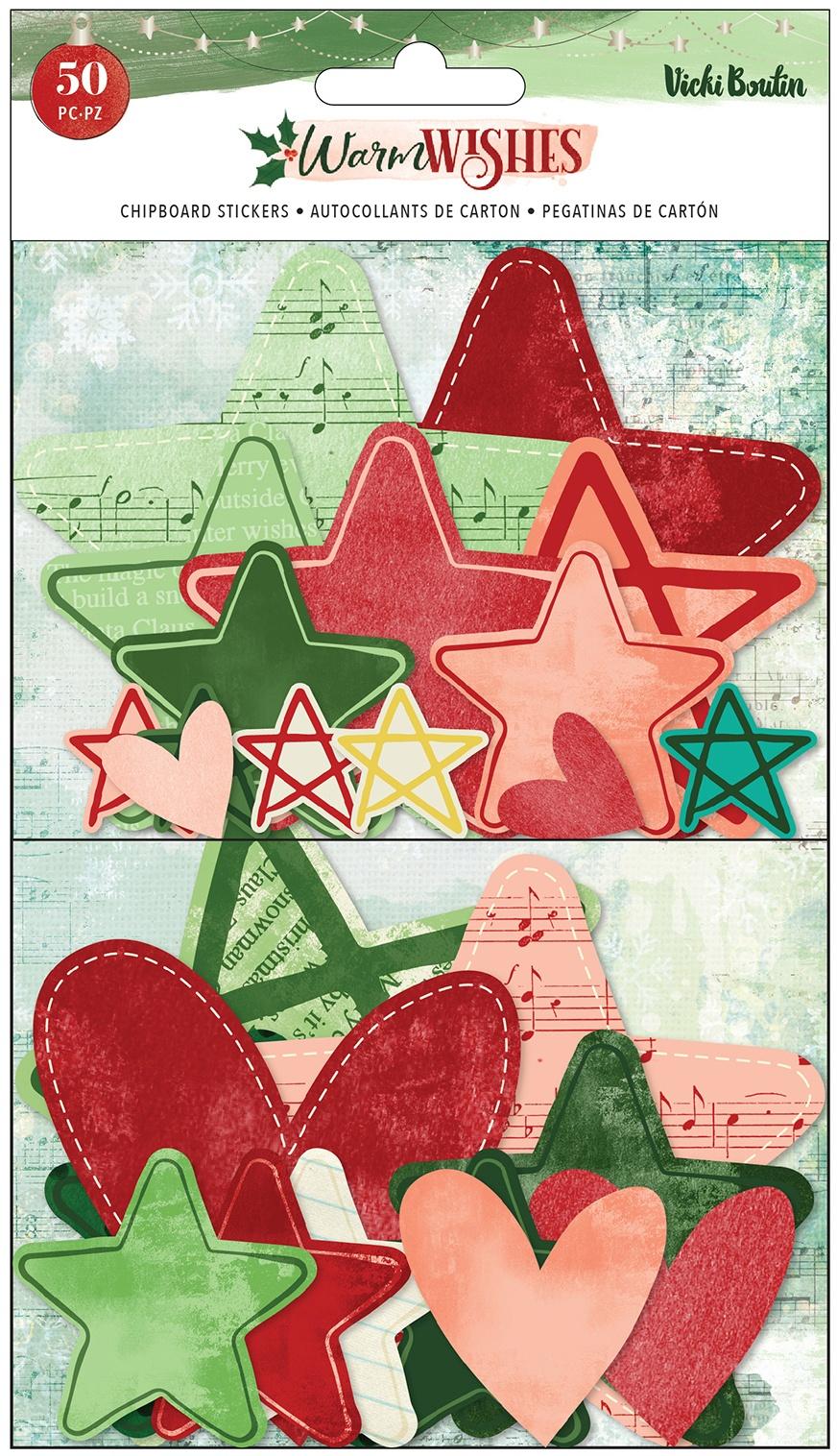 Vicki Boutin - Warm Wishes - Stars and Hearts Chipboard Stickers