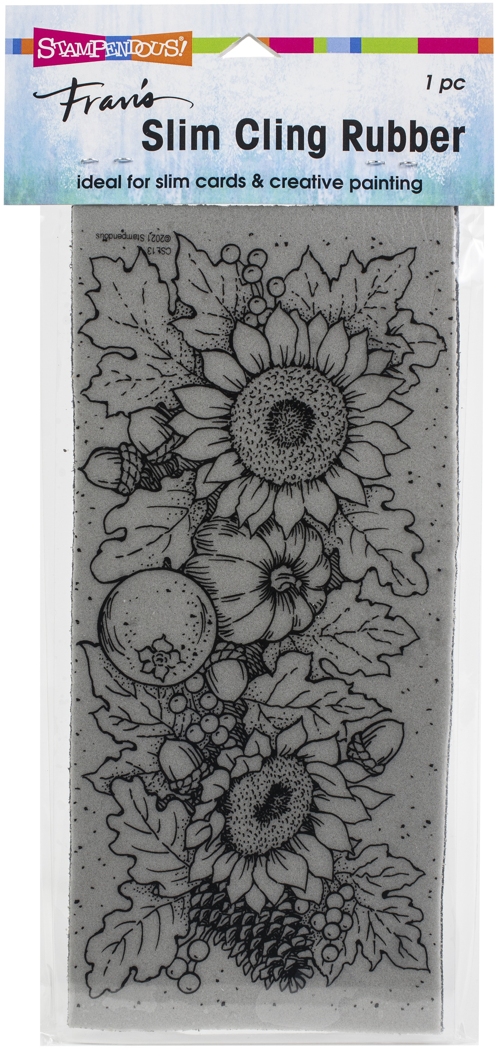 Stampendous Cling Stamp-Slim Fall Sunflowers