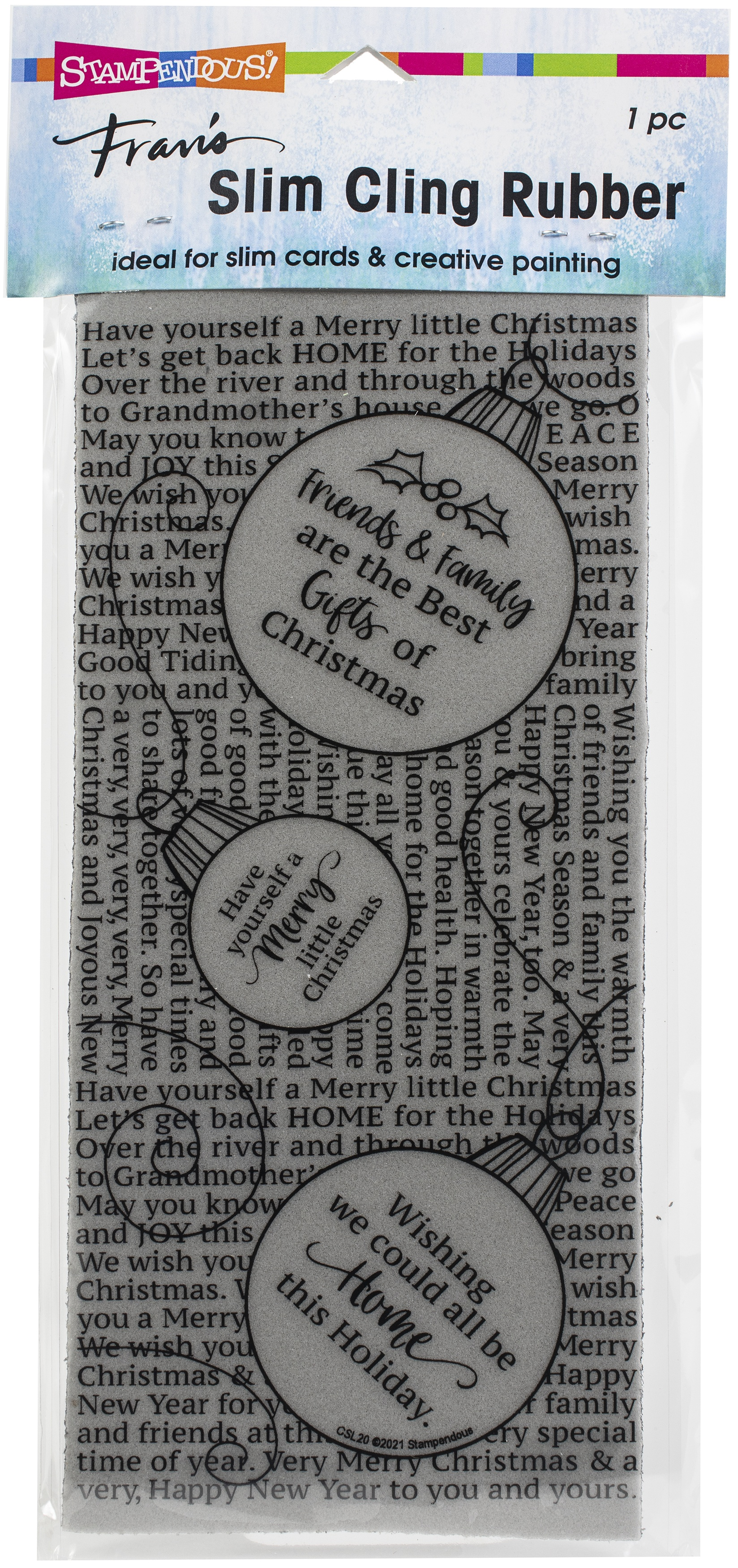 Stampendous Cling Stamp-Slim Ornament Text