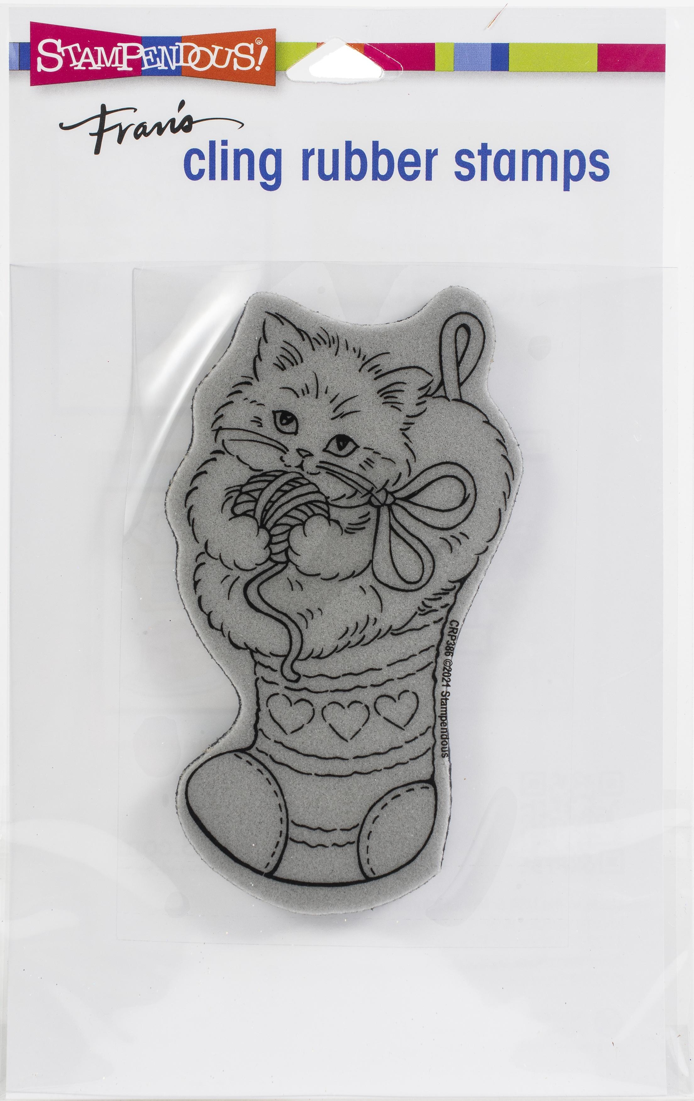 Stampendous Cling Stamp-Kitten Stocking