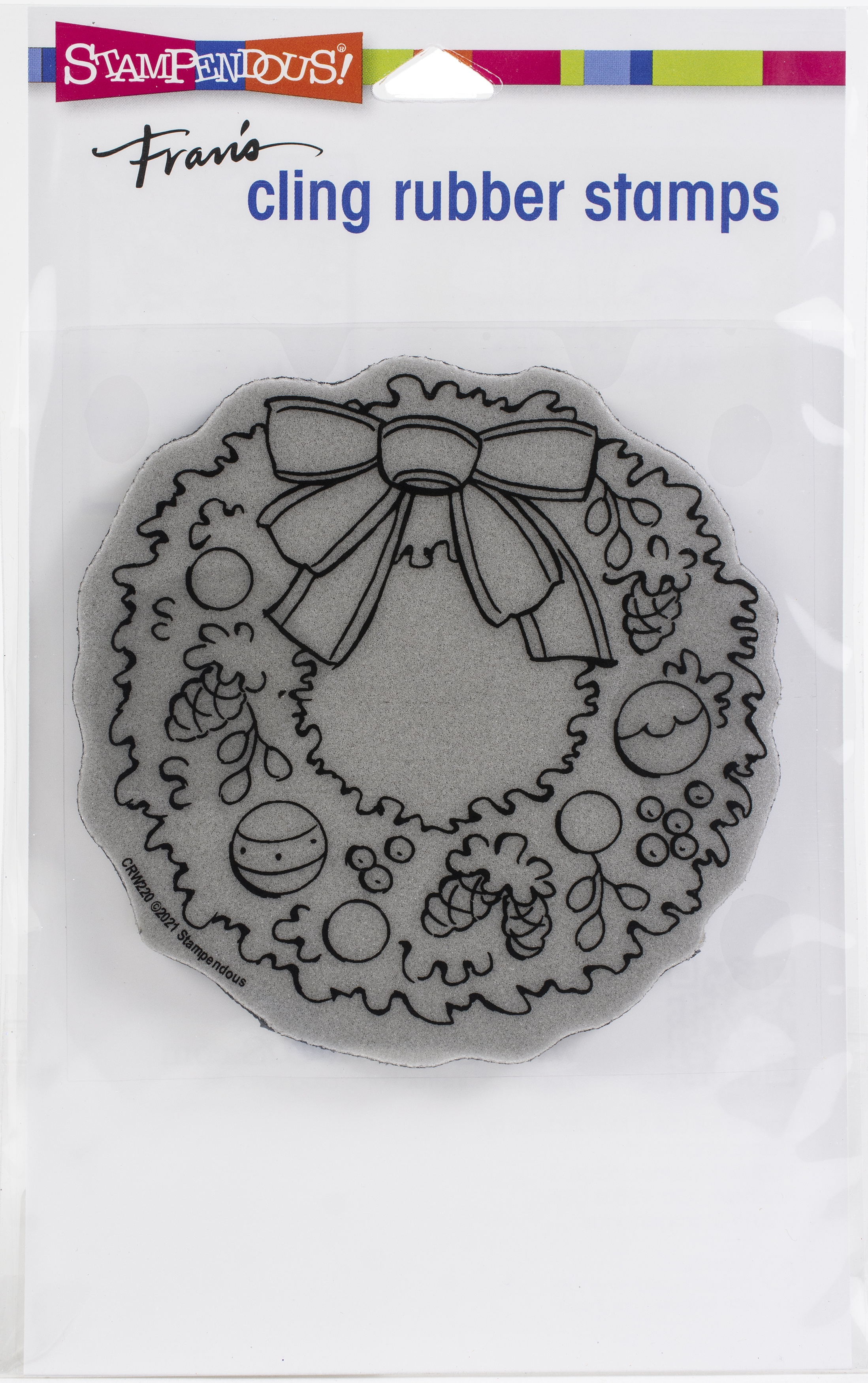 Stampendous Cling Stamp-Pinecone Wreath