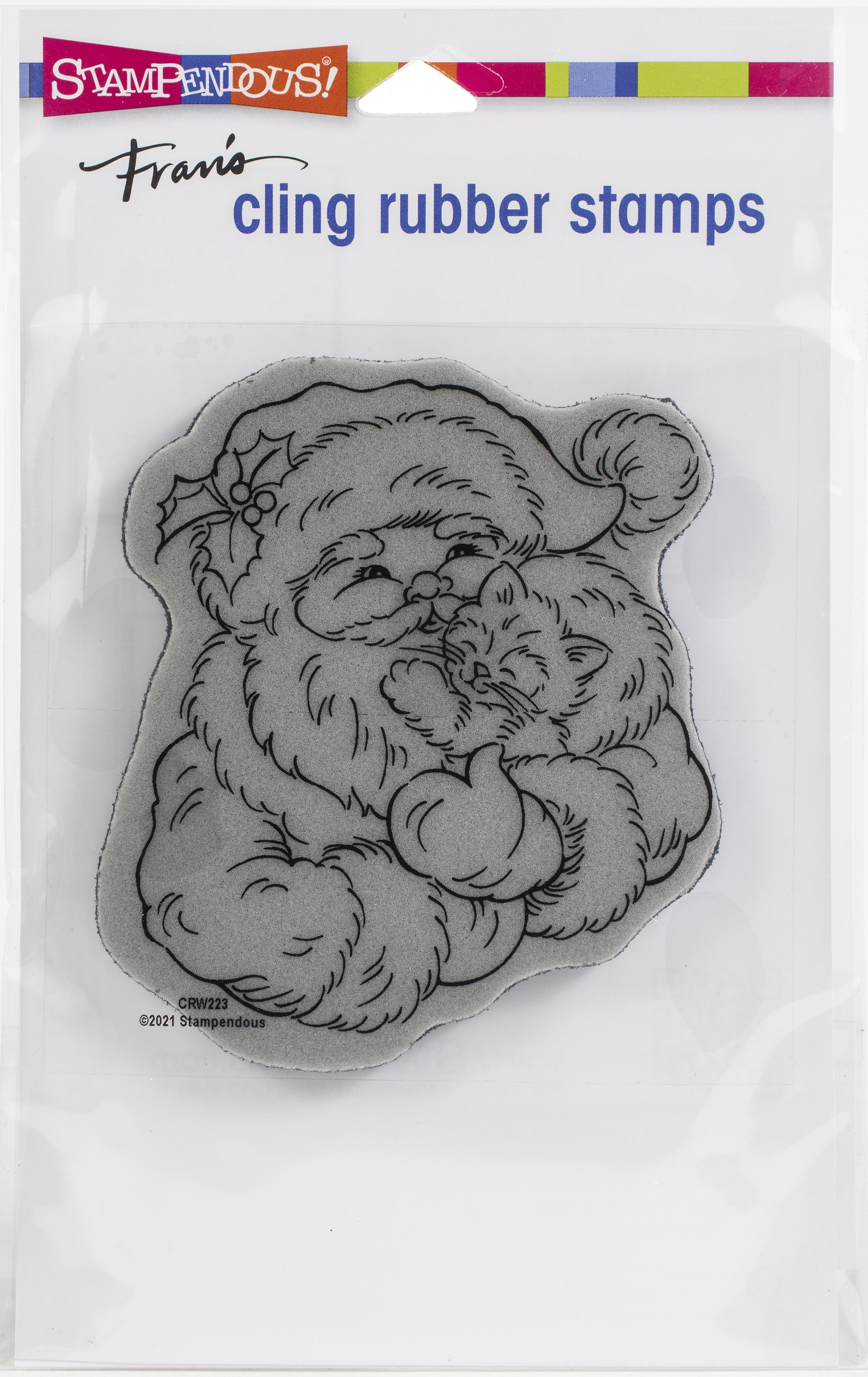 Stampendous Cling Stamp-Santa Kitten