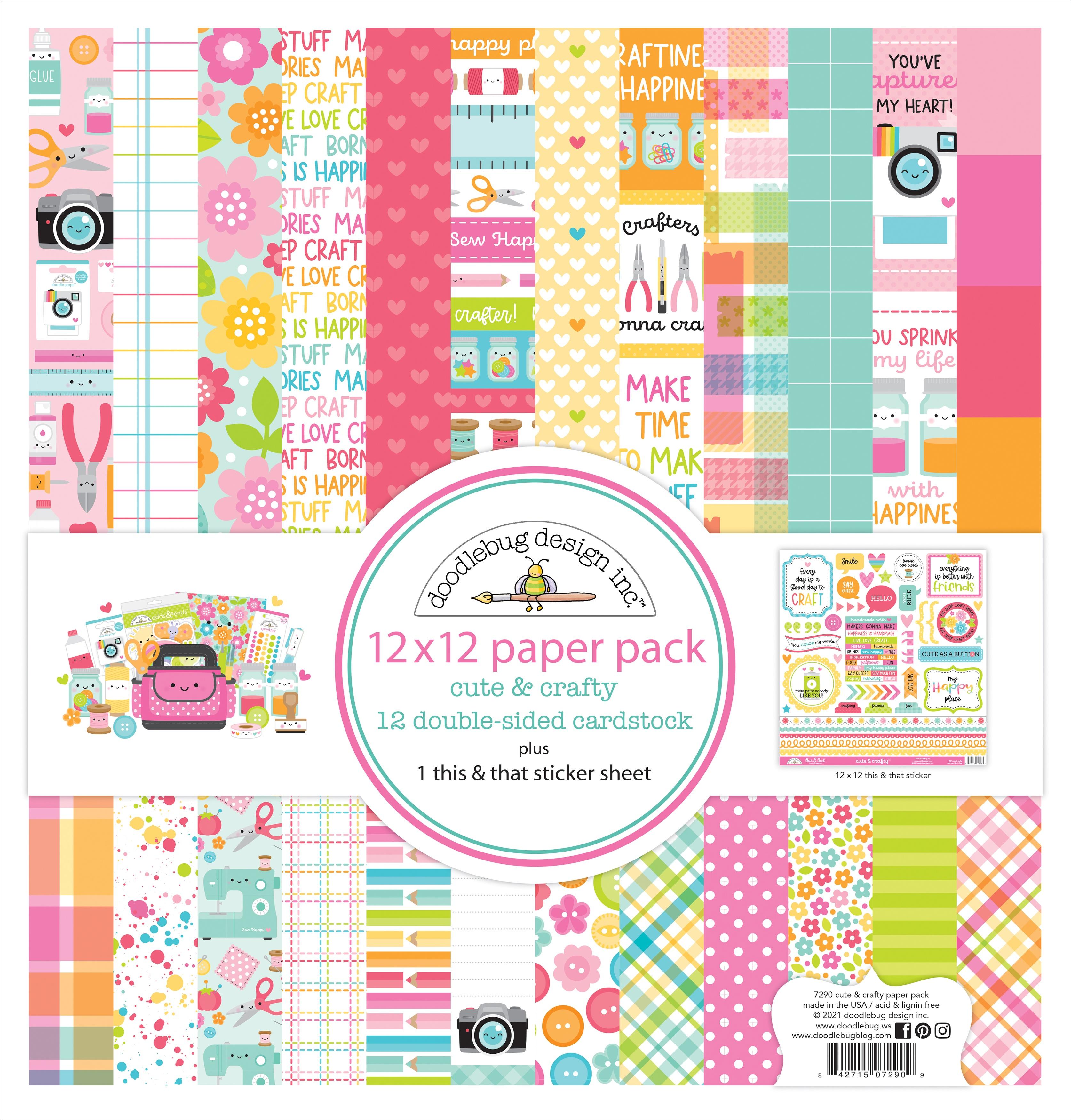 Doodlebug Cute & Crafty  - 12x12 Paper Pack