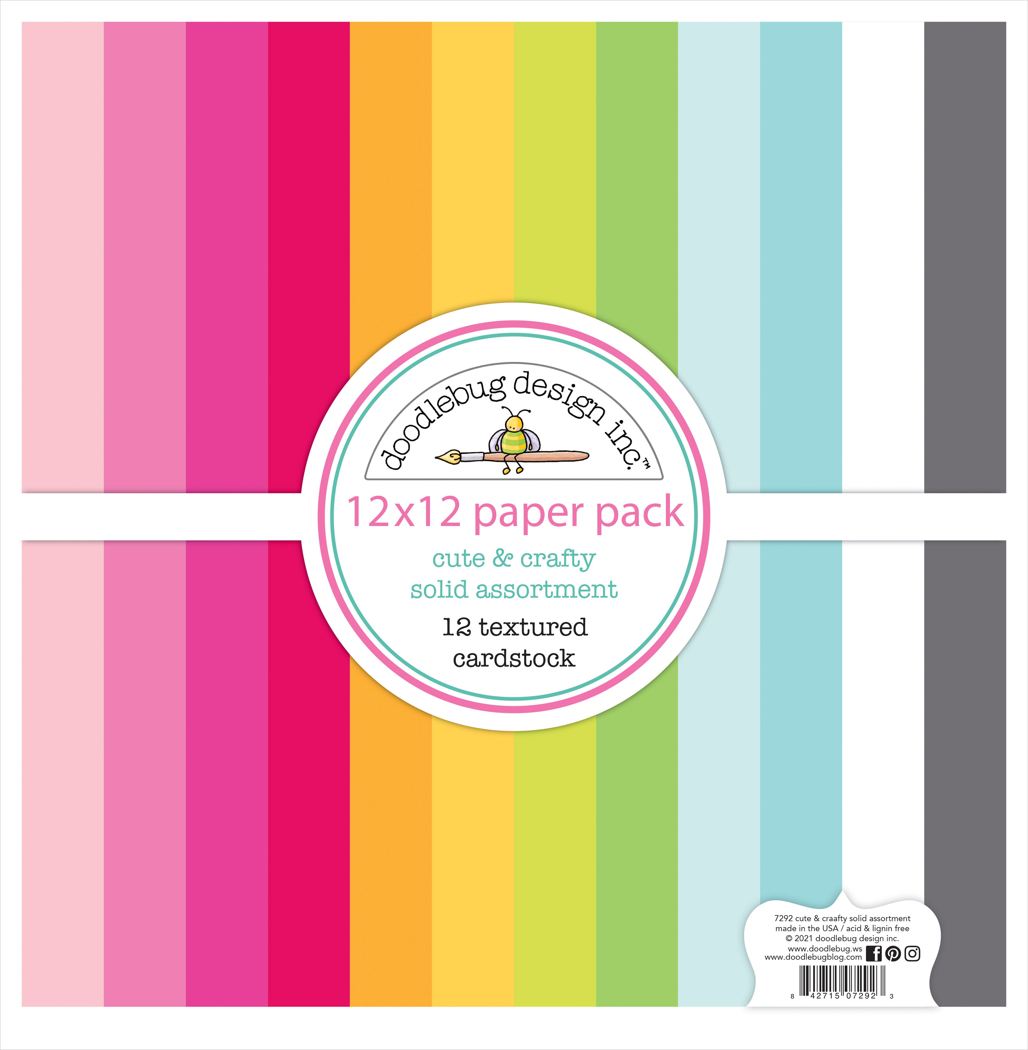 Doodlebug Textured Double-Sided Cardstock 12X12 Pack-Cute & Crafty