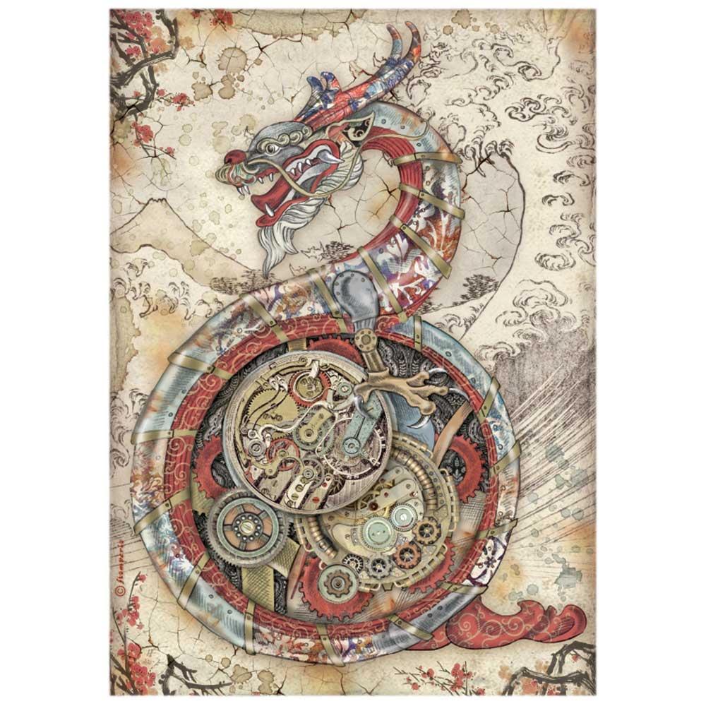 Stamperia Rice Paper Sheet A4-Mechanical Dragon, Sir Vagabond In Japan