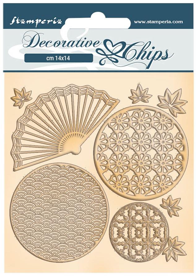 Stamperia Decorative Chips 5.5X5.5-Fan & Circles, Sir Vagabond In Japan