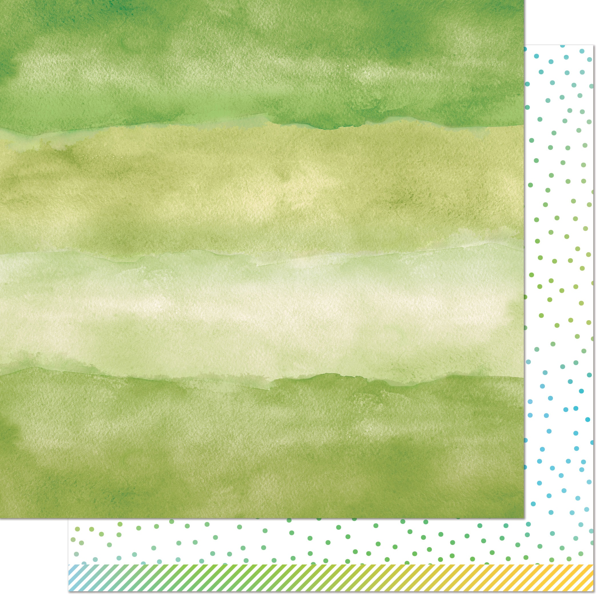 Watercolor Wishes Rainbow Double-Sided Cardstock 12X12-Emerald
