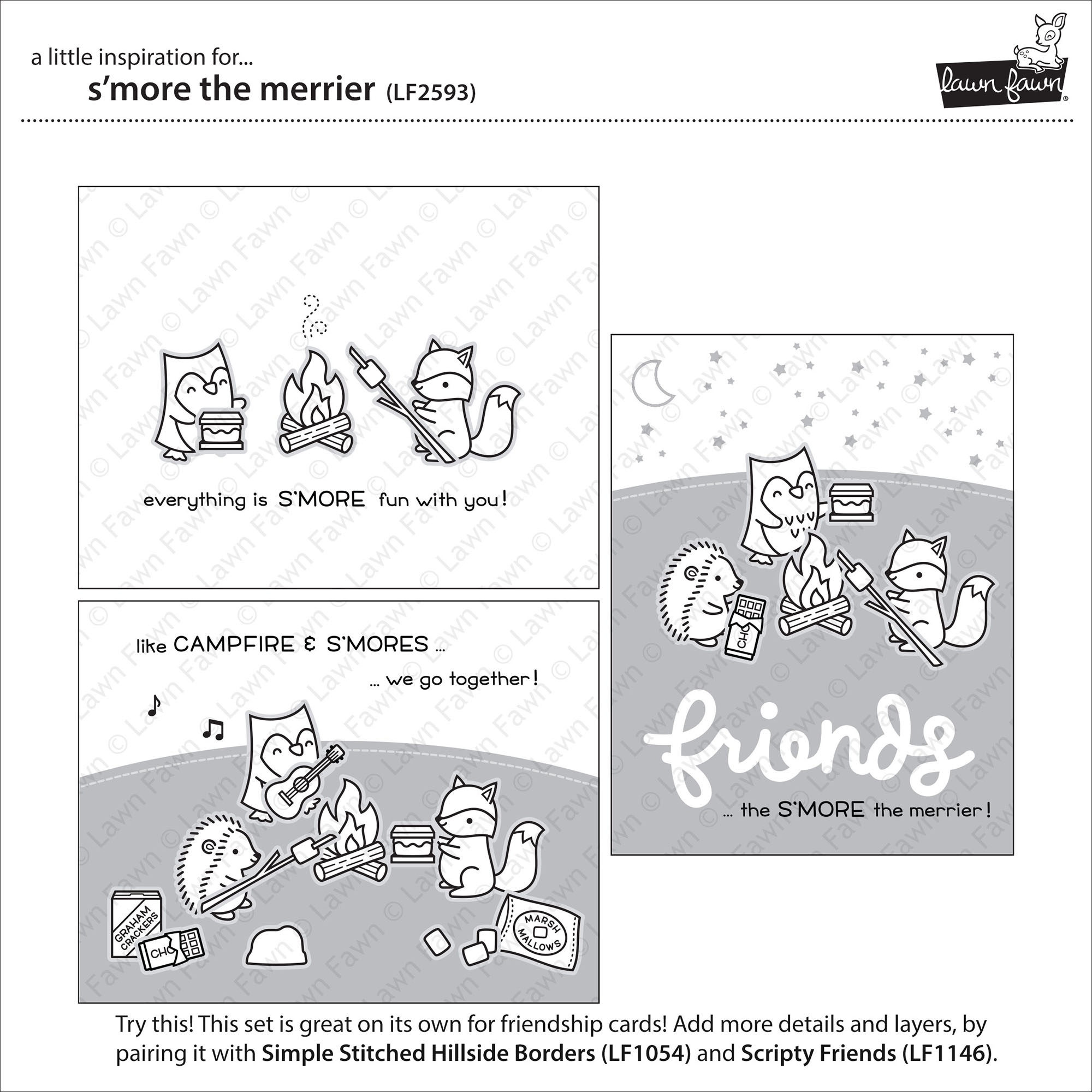 Lawn Fawn Clear Stamps 4X6-S'more The Merrier