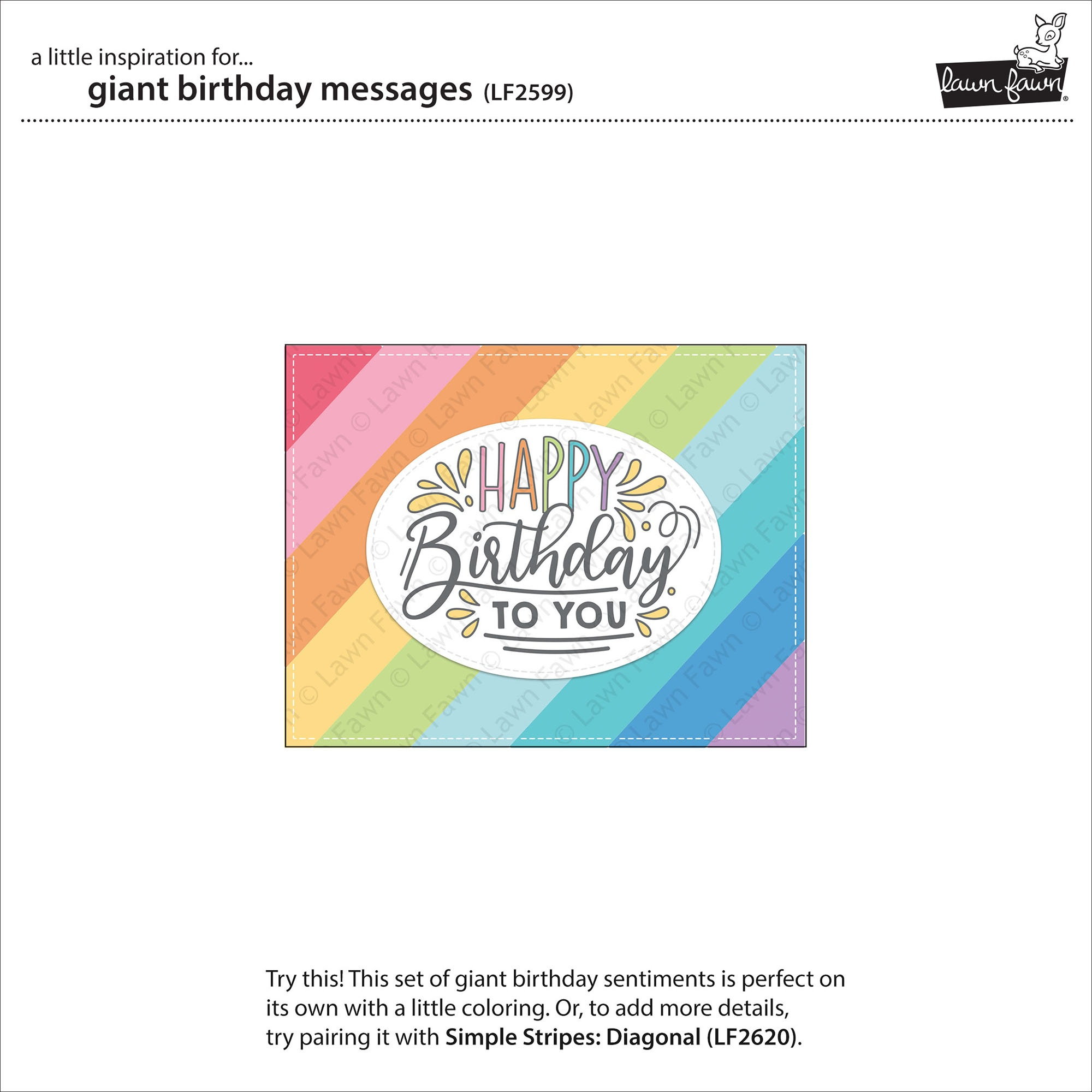 Lawn Fawn Clear Stamps 4X6-Giant Birthday Messages
