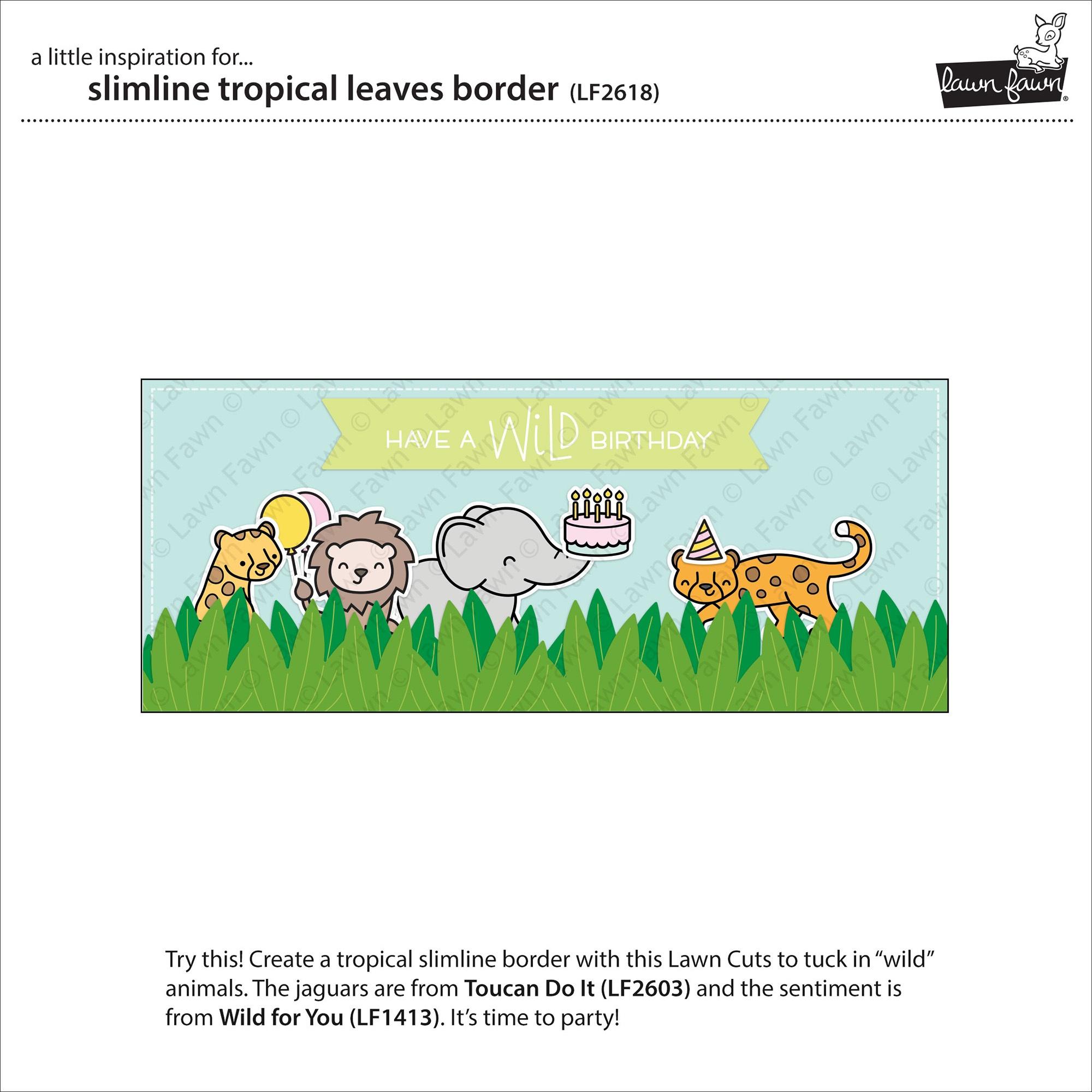 Lawn Cuts Custom Craft Die-Slimline Tropical Leaves Border