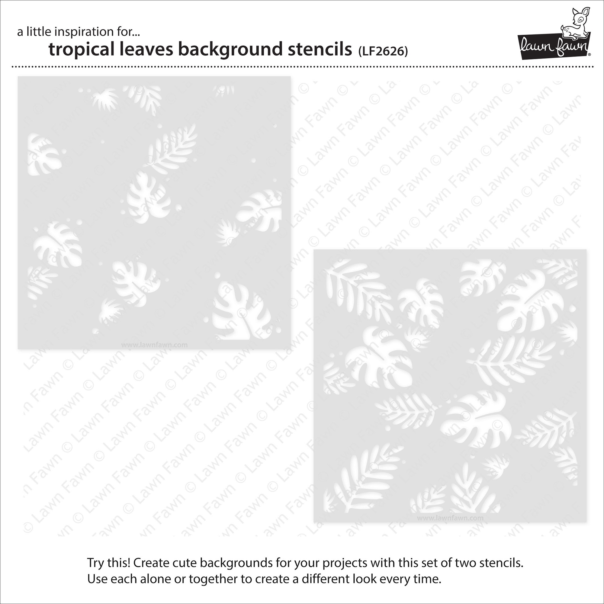 Lawn Clippings Stencils-Tropical Leaves Background