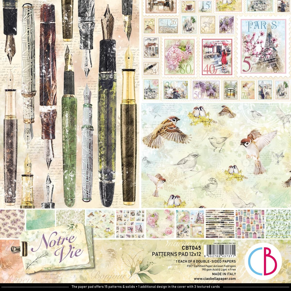 Ciao Bella Double-Sided Paper Pack 90lb 12X12 8/Pkg-Notre Vie, 8 Designs/1 Eac...