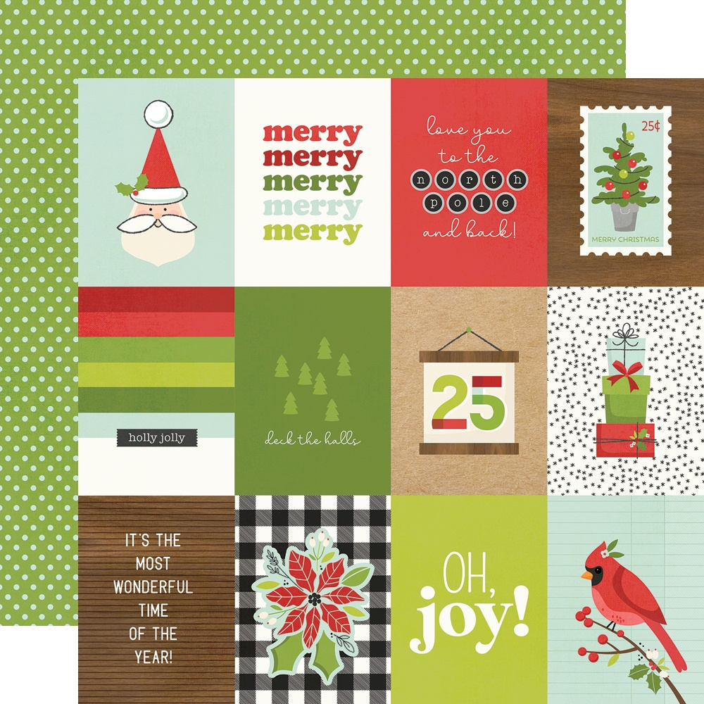 Make It Merry Double-Sided Cardstock 12X12-3X4 Elements