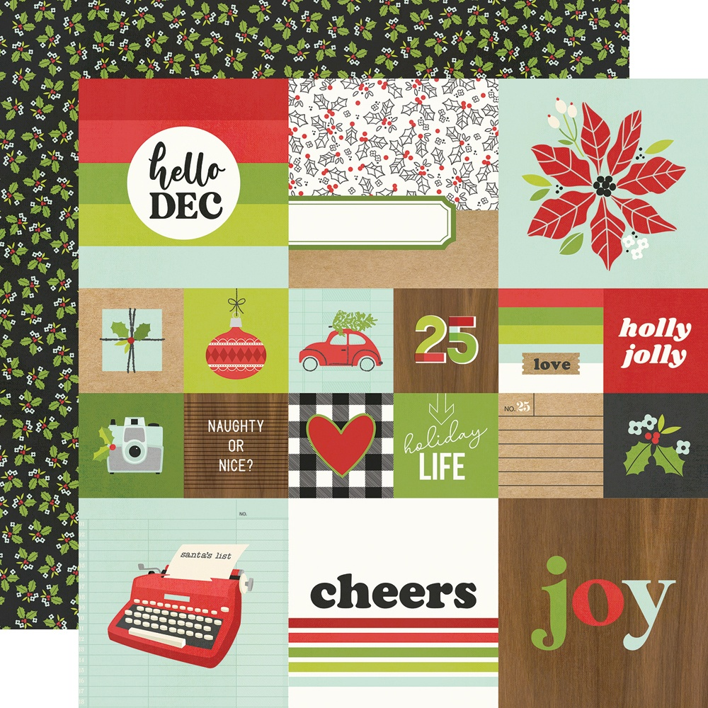 Make It Merry Double-Sided Cardstock 12X12-2X2 & 4X4 Elements
