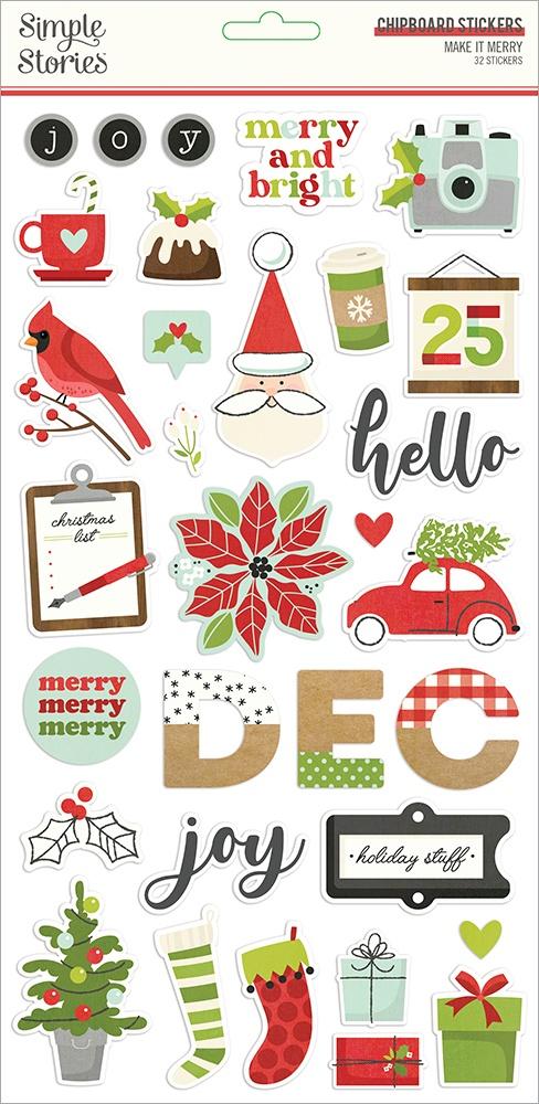 Make It Merry Chipboard Stickers 6X12-