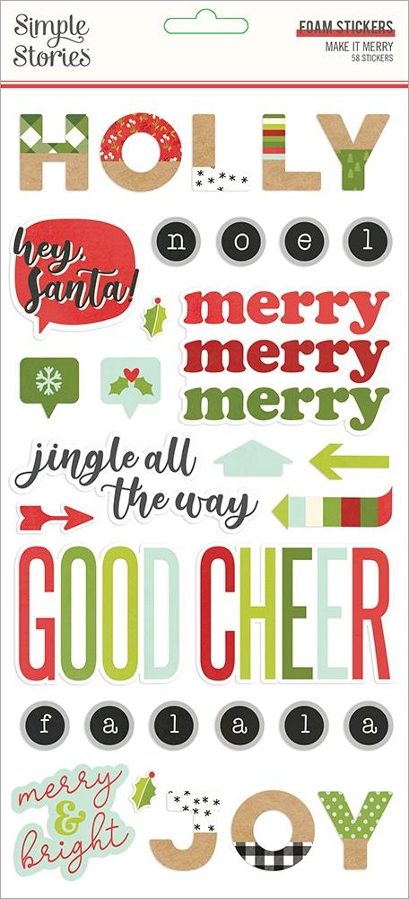 Make It Merry Foam Stickers 58/Pkg-
