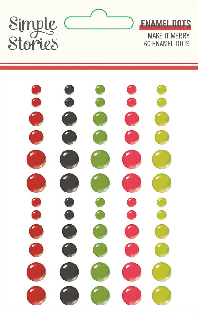 Make It Merry Enamel Dots Embellishments 60/Pkg-