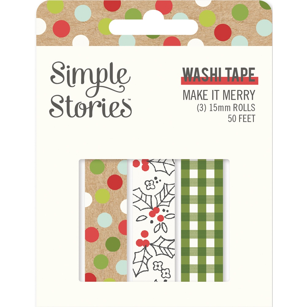 Simple Stories Make It Merry Washi Tape 3/Pkg-