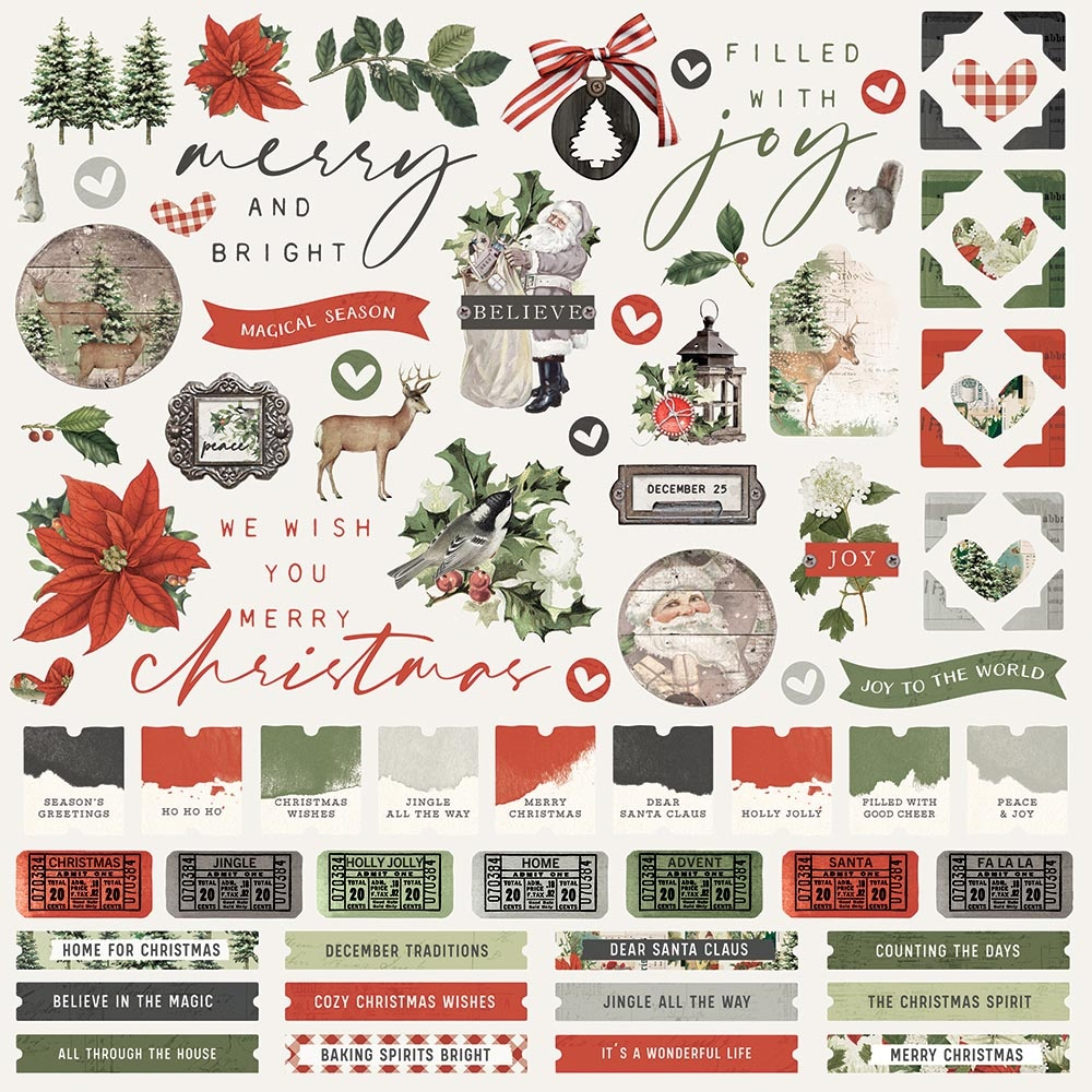 Simple Vintage Rustic Christmas Cardstock Stickers 12X12-Combo