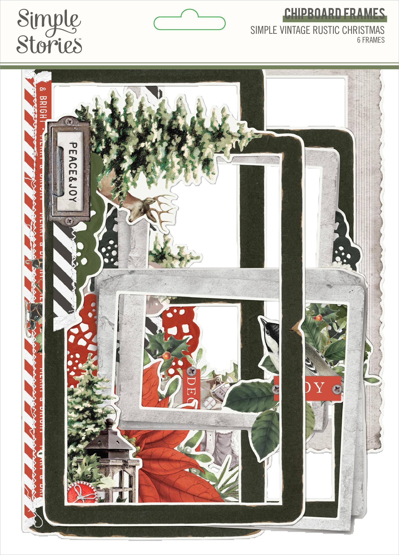 Simple Vintage Rustic Christmas Chipboard Frames