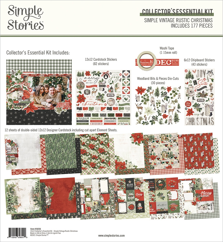 Simple Stories Collector's Essential Kit 12X12-Simple Vintage Rustic Christmas