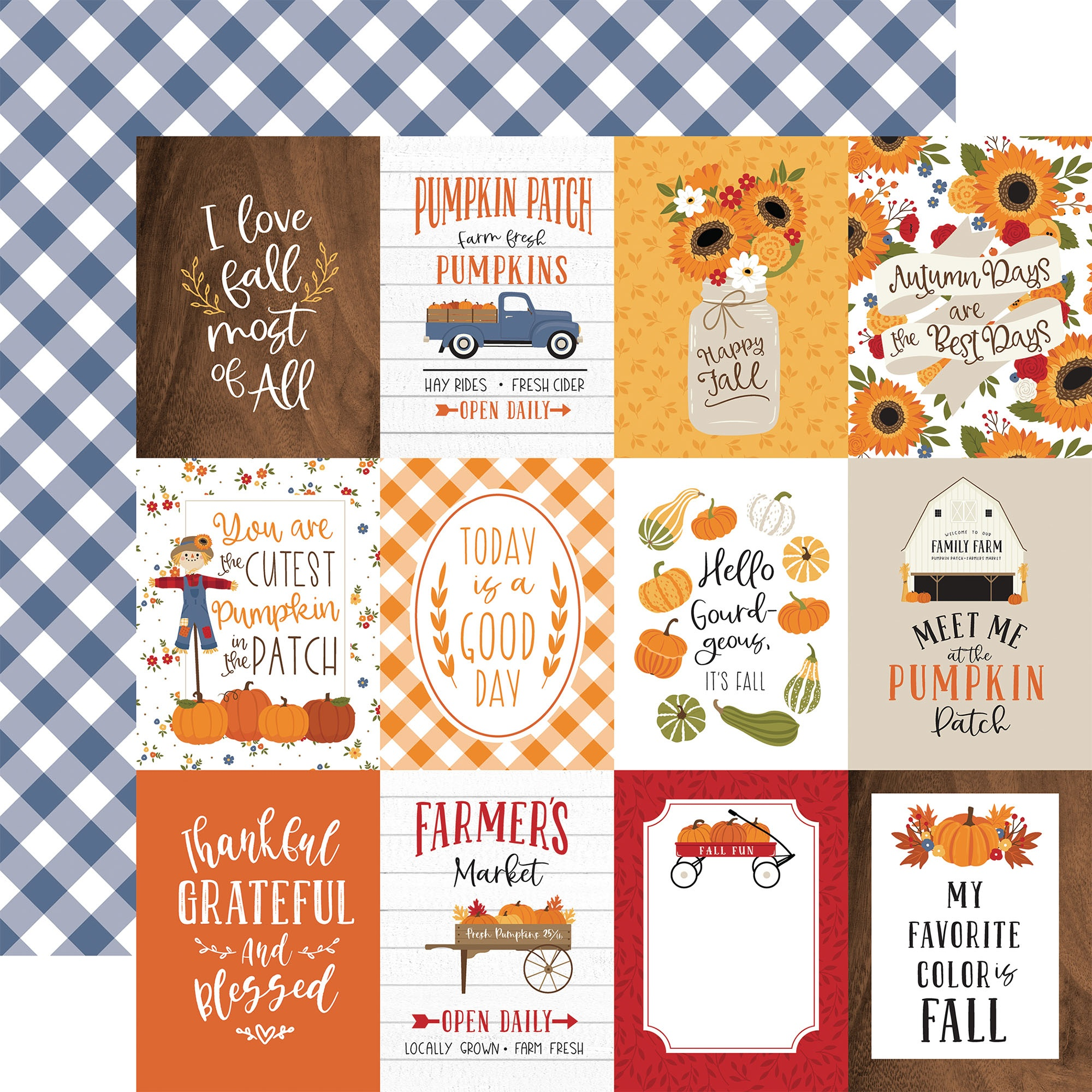 Echo Park - Fall - 3X4 JOURNALING CARDS - 12x12 Double-Sided Paper