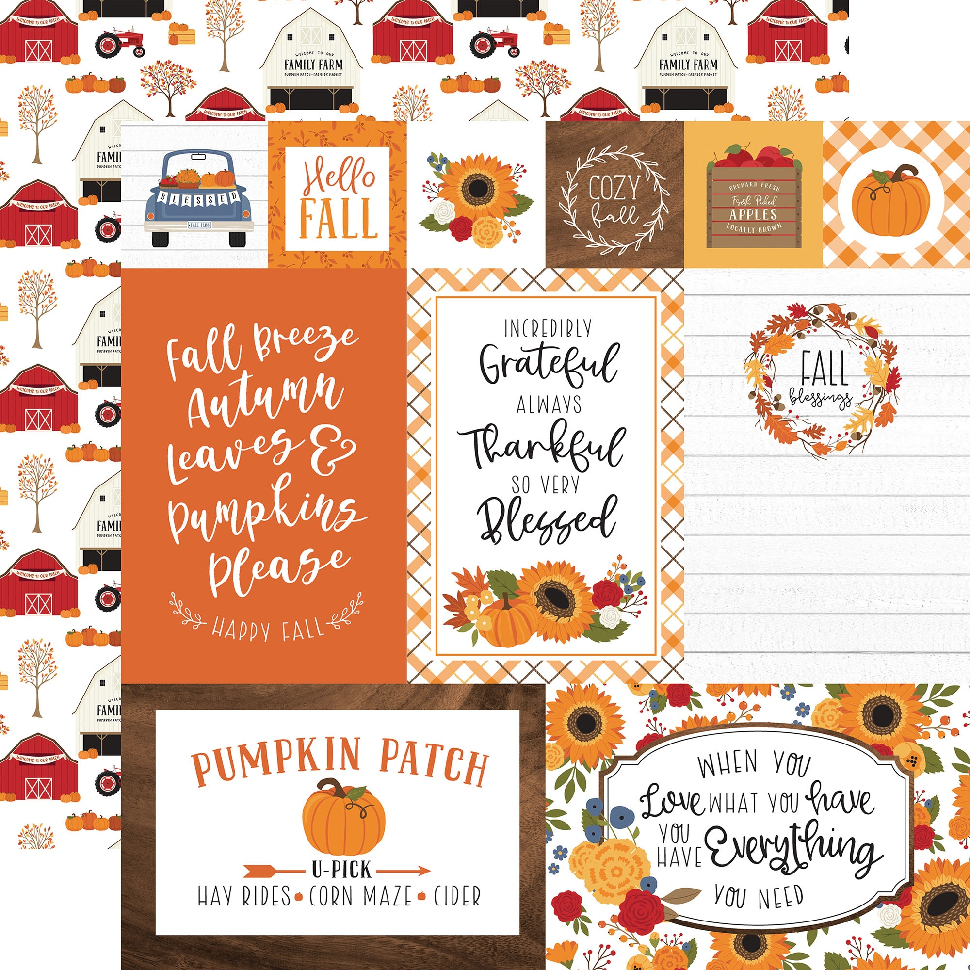 Echo Park - Fall - MULTI JOURNALING CARDS - 12x12 Double-Sided Paper