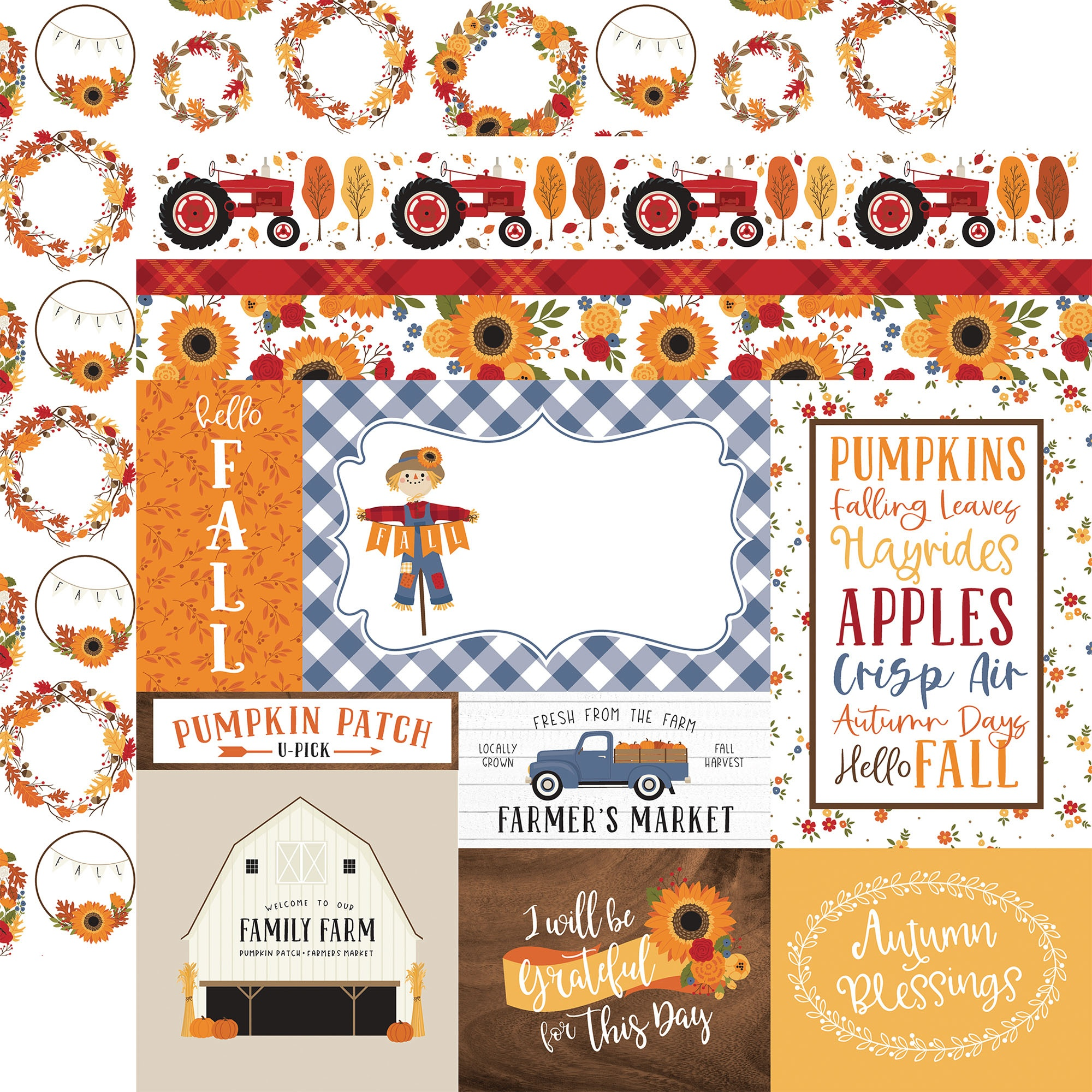 Echo Park - Fall - JOURNALING CARDS - 12x12 Double-Sided Paper