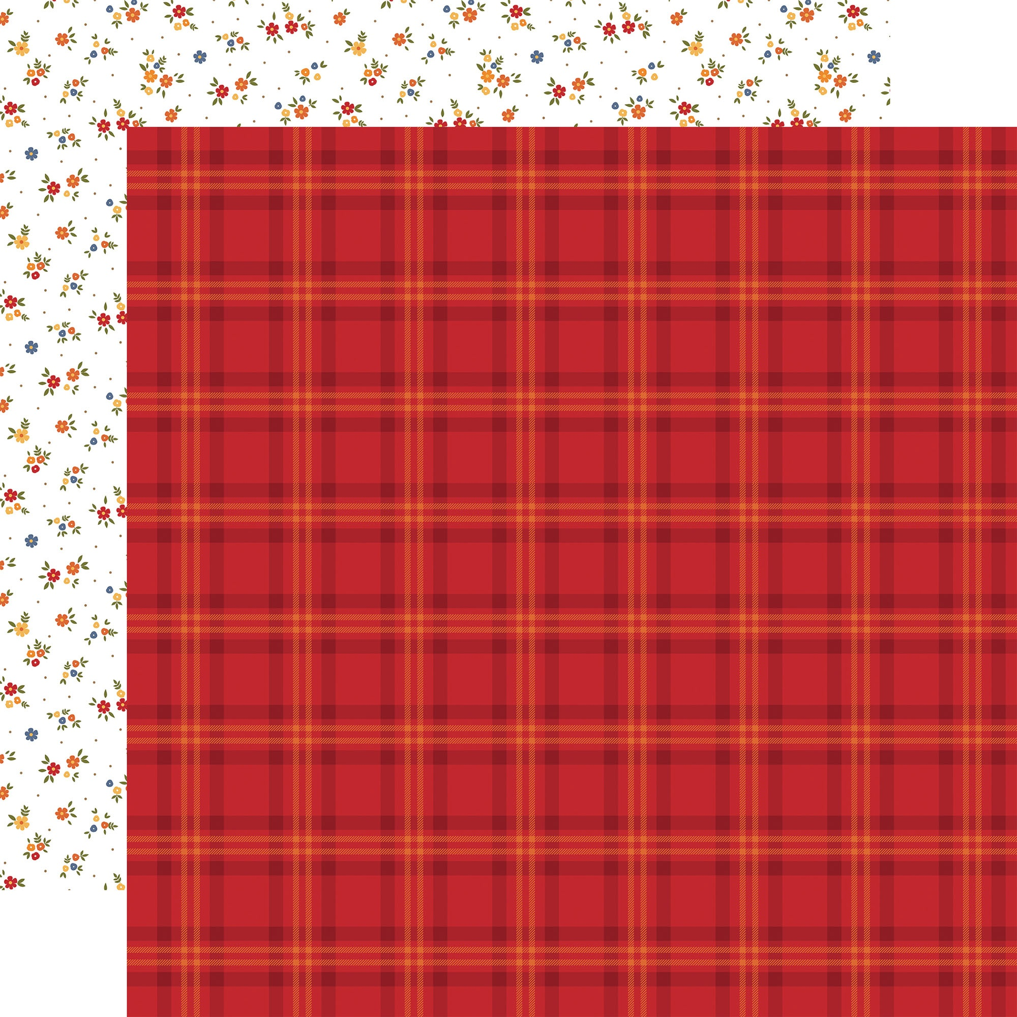 Echo Park - Fall - PATCH PLAID - 12x12 Double-Sided Paper