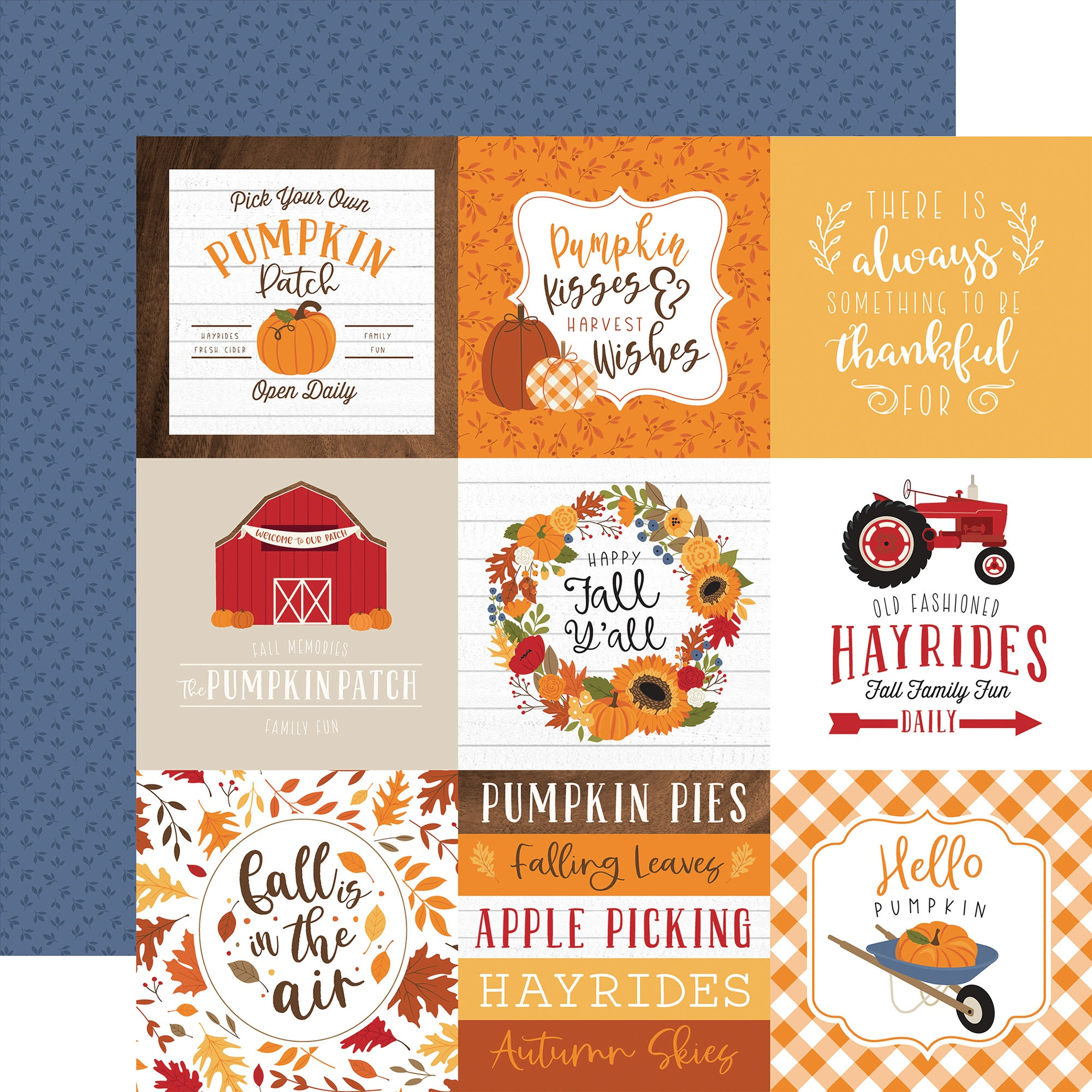Echo Park - Fall - 4X4 JOURNALING CARDS - 12x12 Double-Sided Paper
