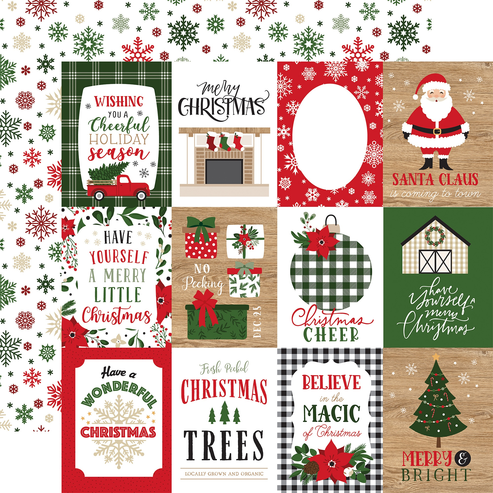 Echo Park - Jingle All The Way - 3X4 JOURNALING CARDS - 12x12 Double-Sided Paper