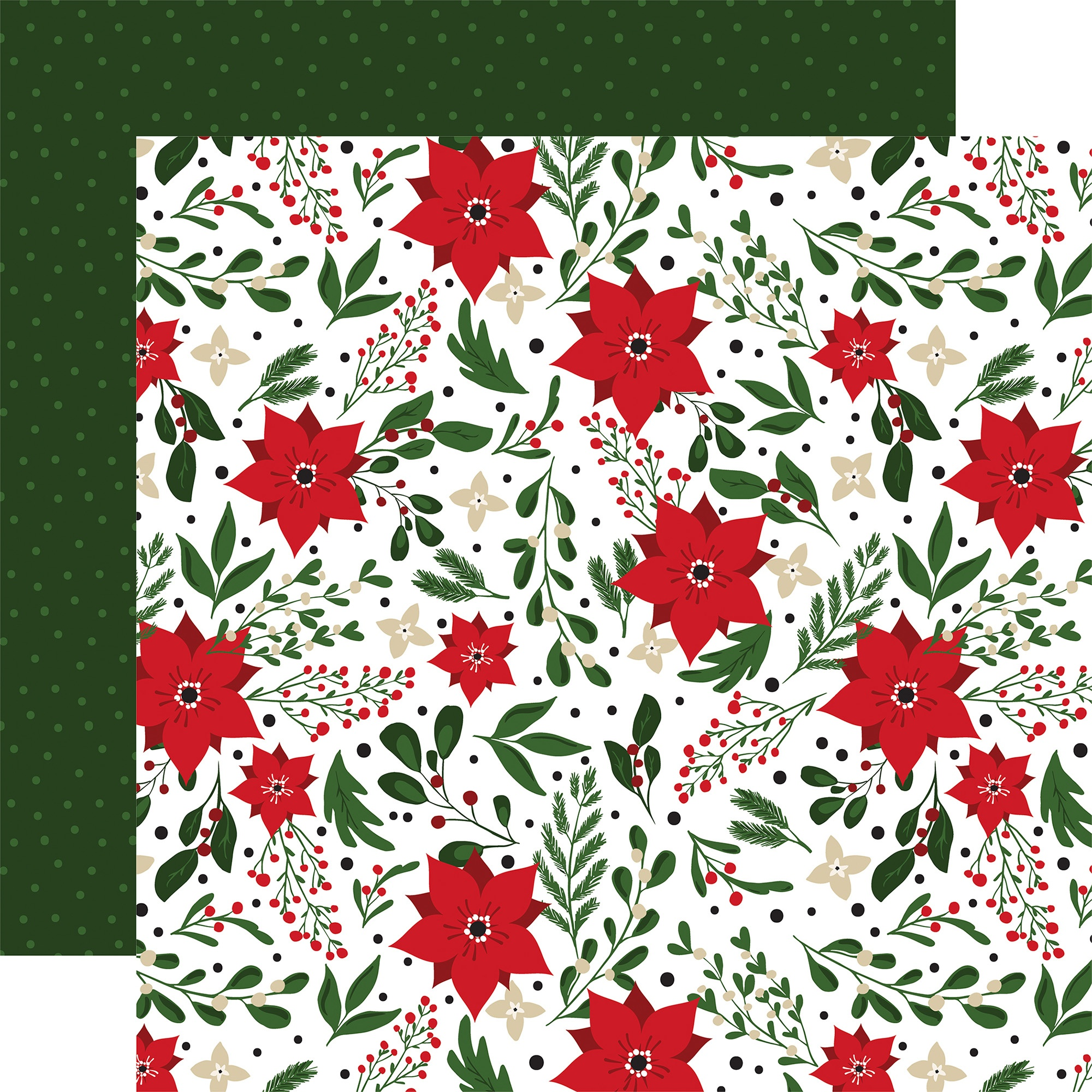 Echo Park - Jingle All The Way - CHRISTMAS FLOWERS - 12x12 Double-Sided Paper