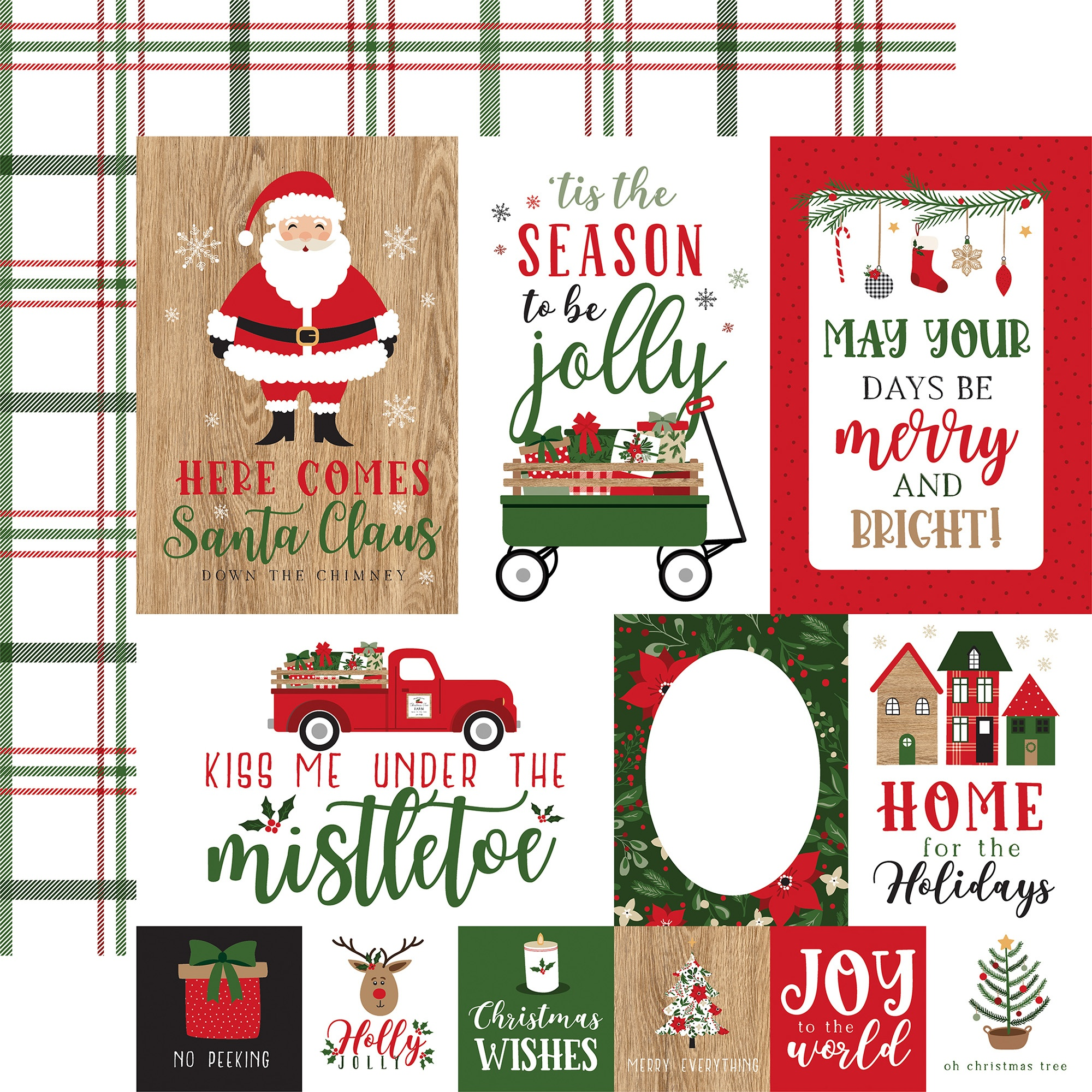 Echo Park - Jingle All The Way - JOURNALING CARDS - 12x12 Double-Sided Paper