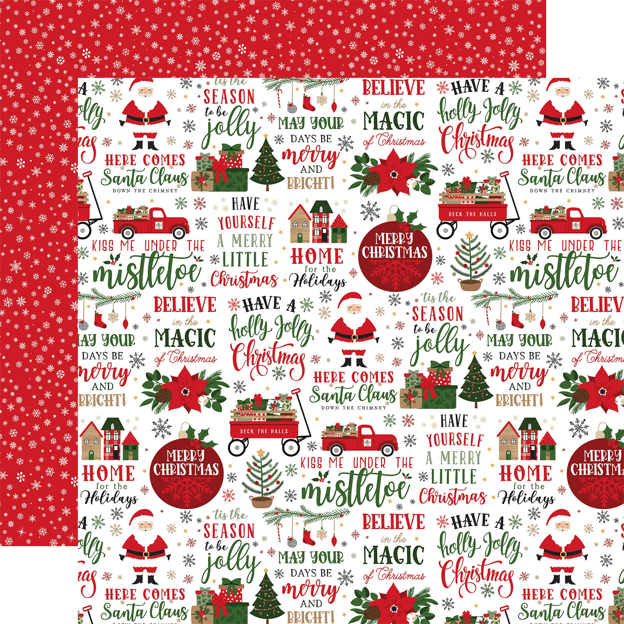 Echo Park - Jingle All The Way - HERE COMES SANTA CLAUS - 12x12 Double-Sided Paper