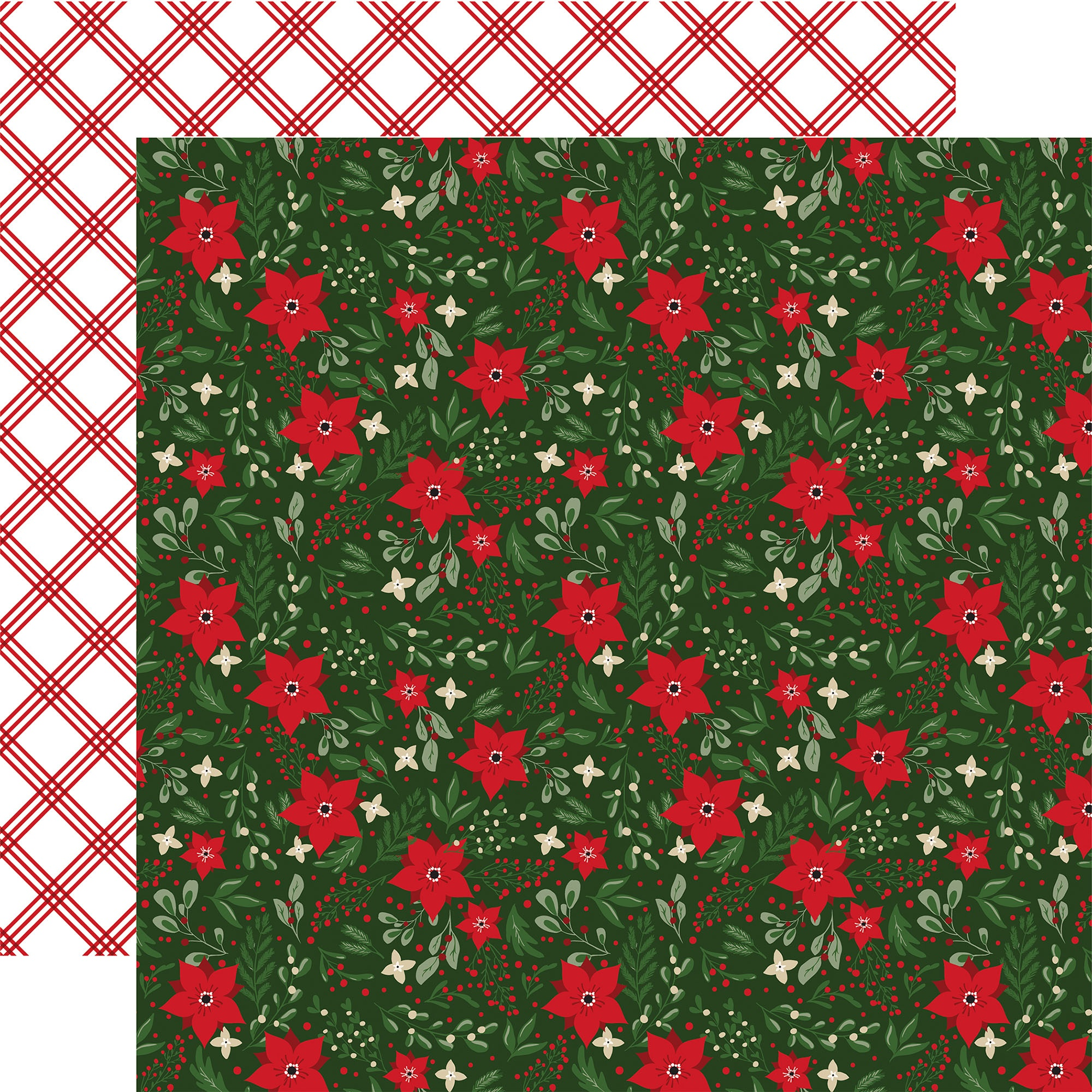 Echo Park - Jingle All The Way - FESTIVE FLORAL - 12x12 Double-Sided Paper