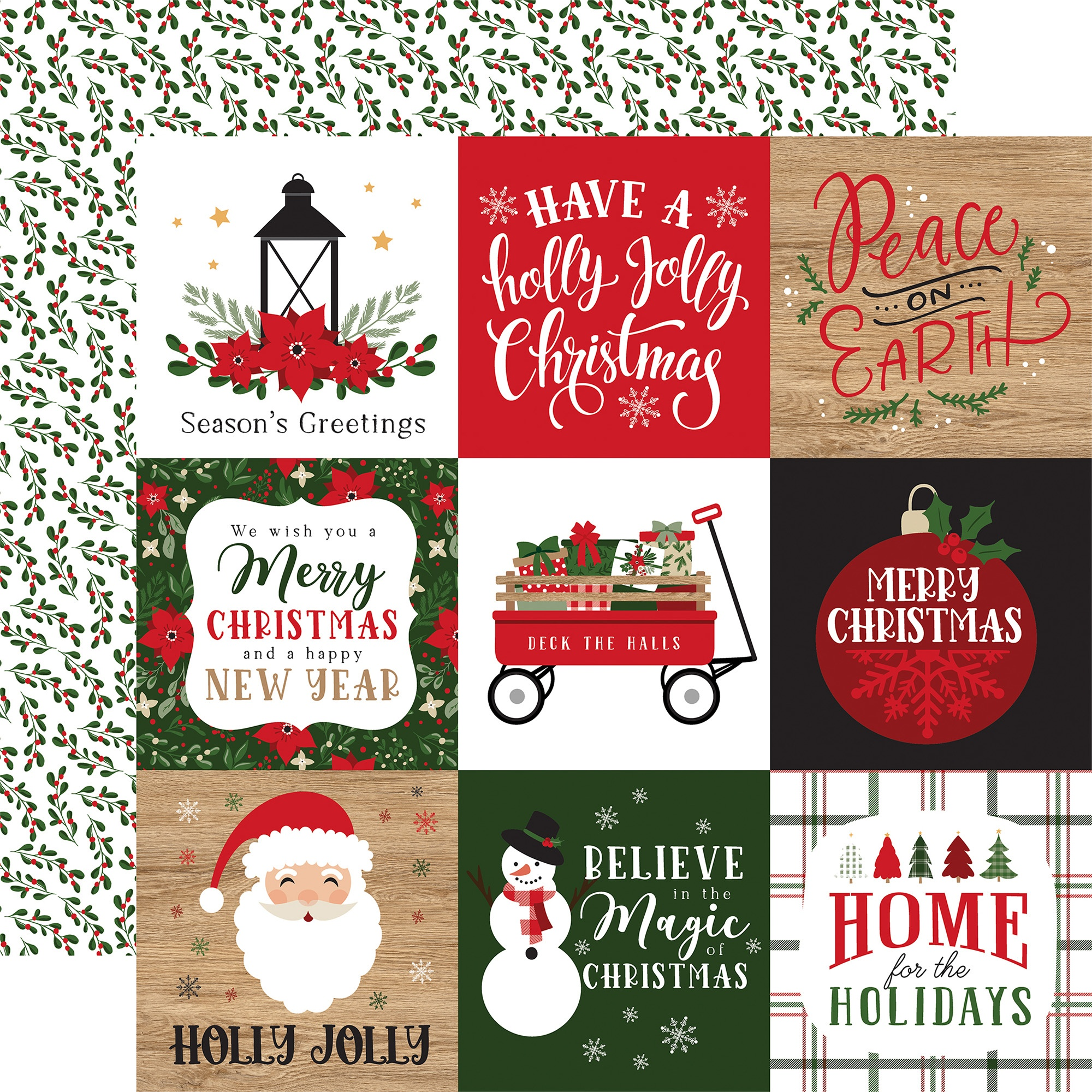 Echo Park - Jingle All The Way - 4X4 JOURNALING CARDS - 12x12 Double-Sided Paper