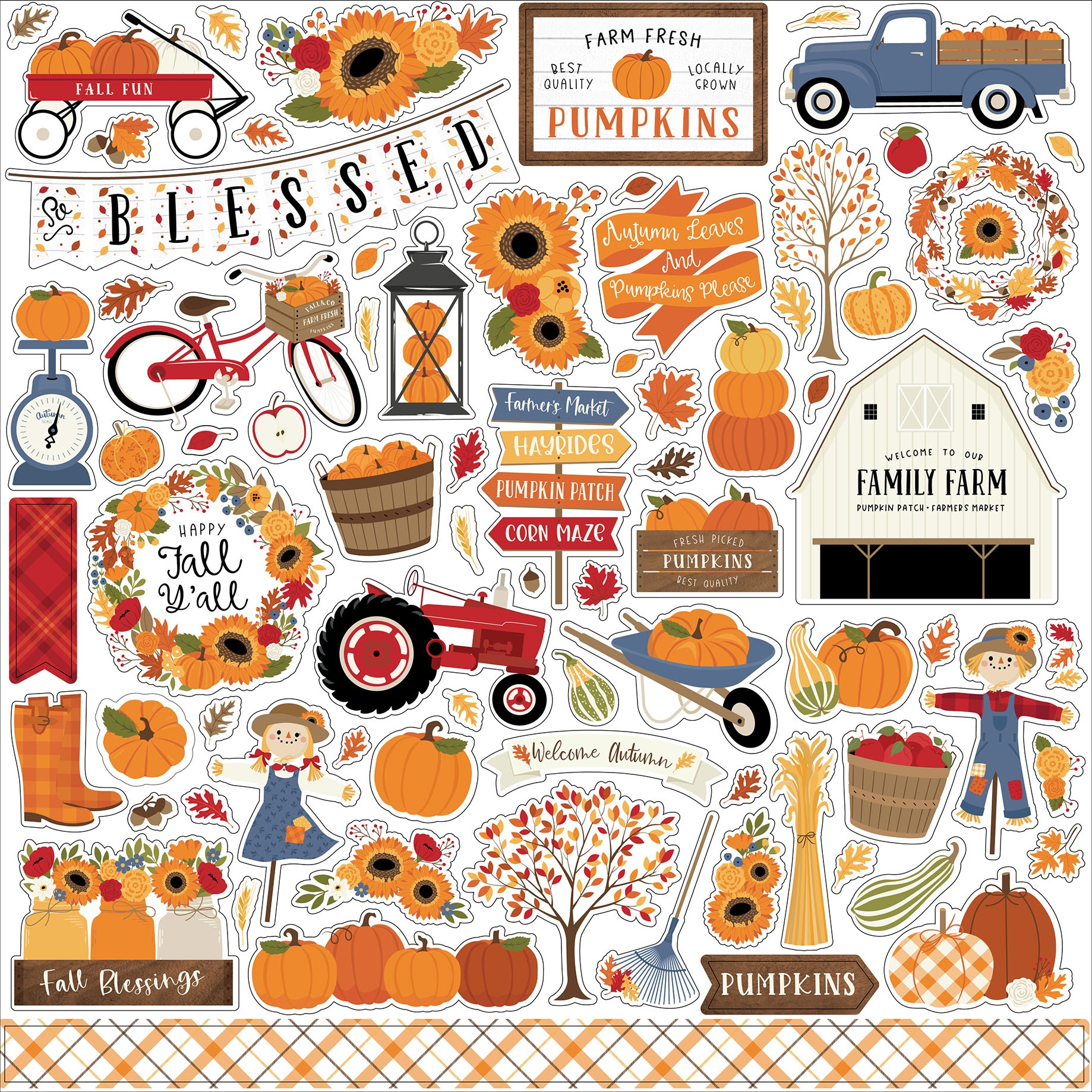 Fall Cardstock Stickers 12X12-Elements