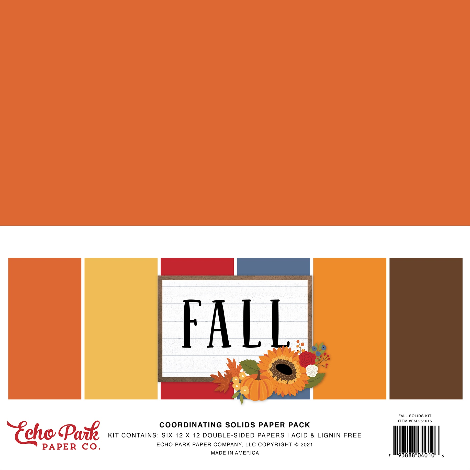 Echo Park - Fall - 12x12 Coordinating Solids Paper Pack