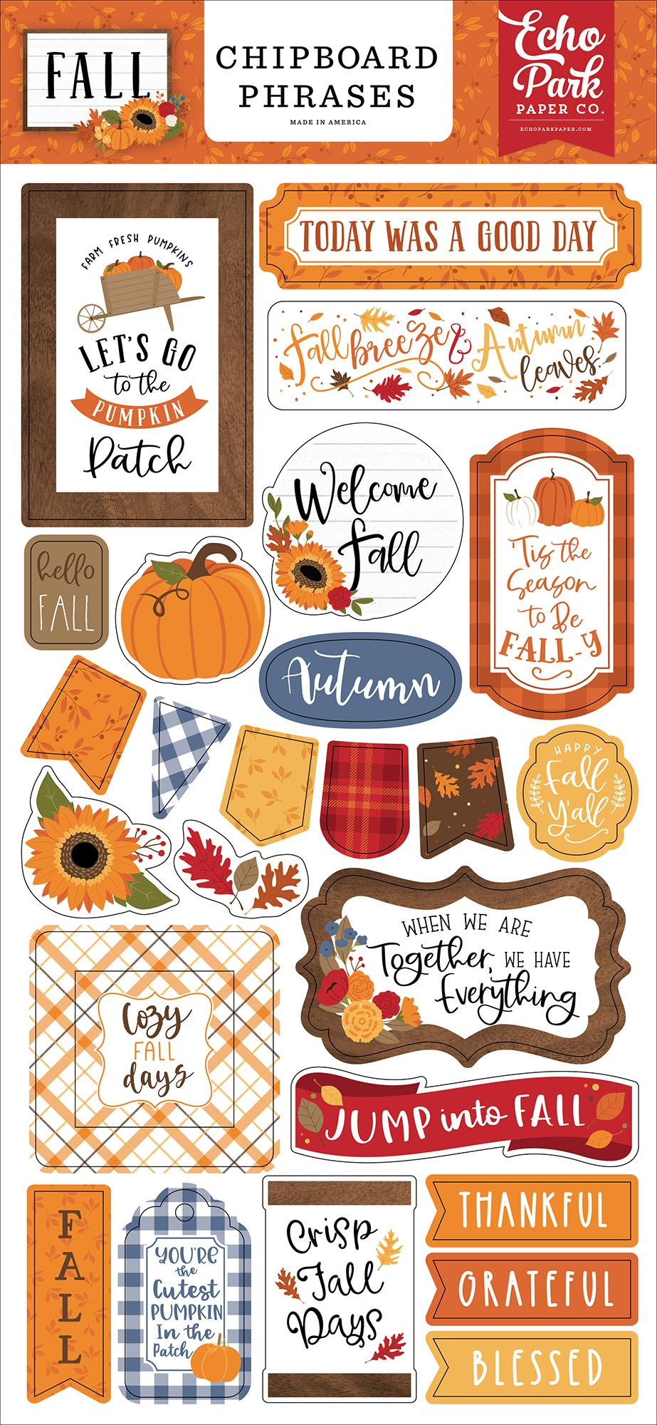 Fall Chipboard 6X13-Phrases