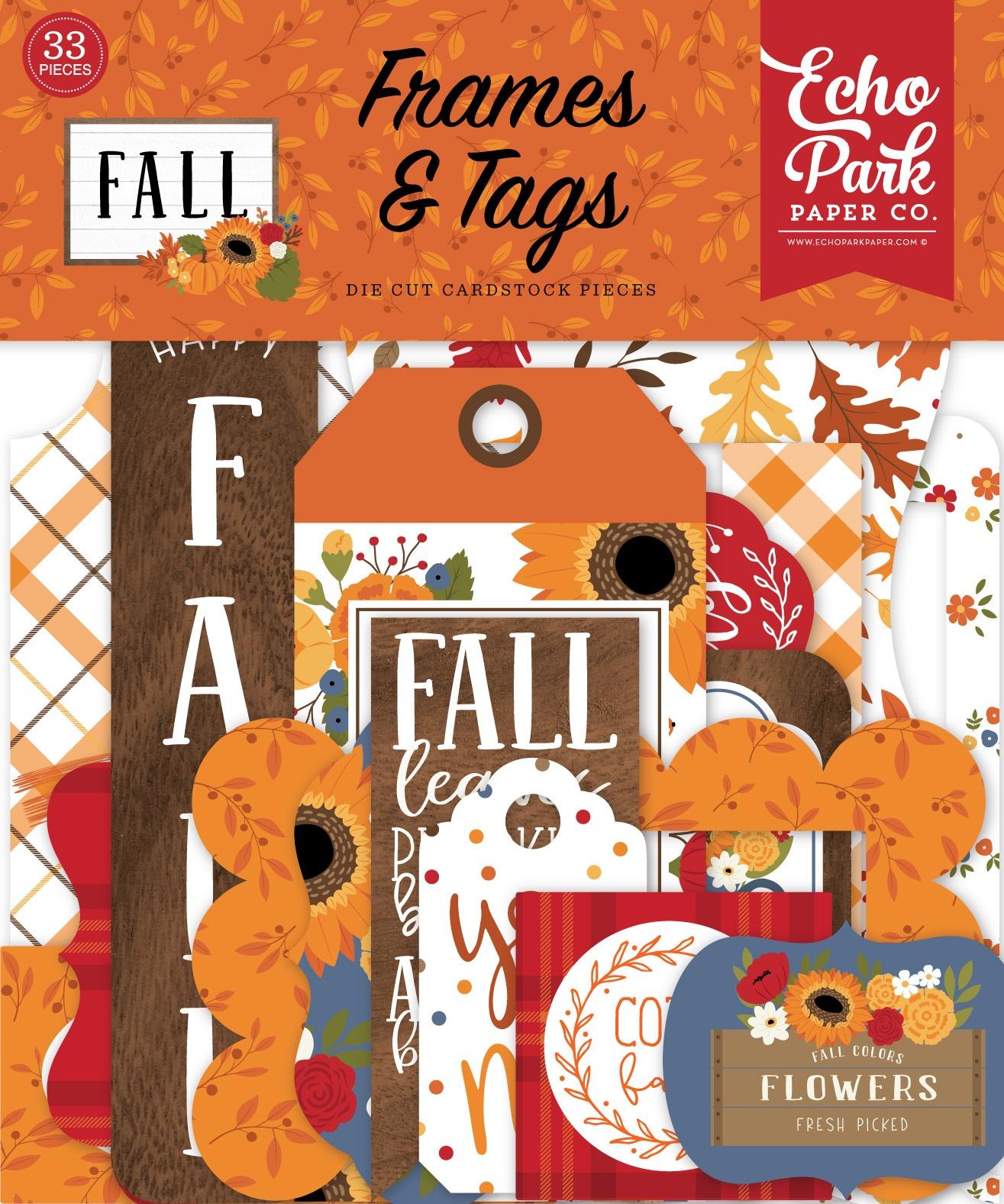 Echo Park Cardstock Ephemera 33/Pkg-Frames & Tags, Fall