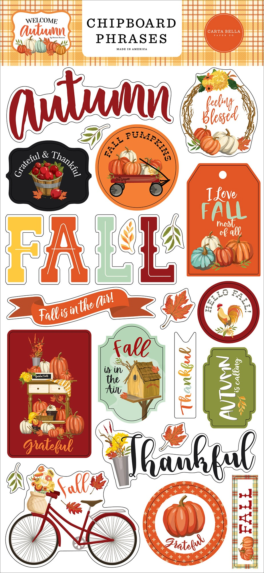 Welcome Autumn Chipboard 6X13-Phrases