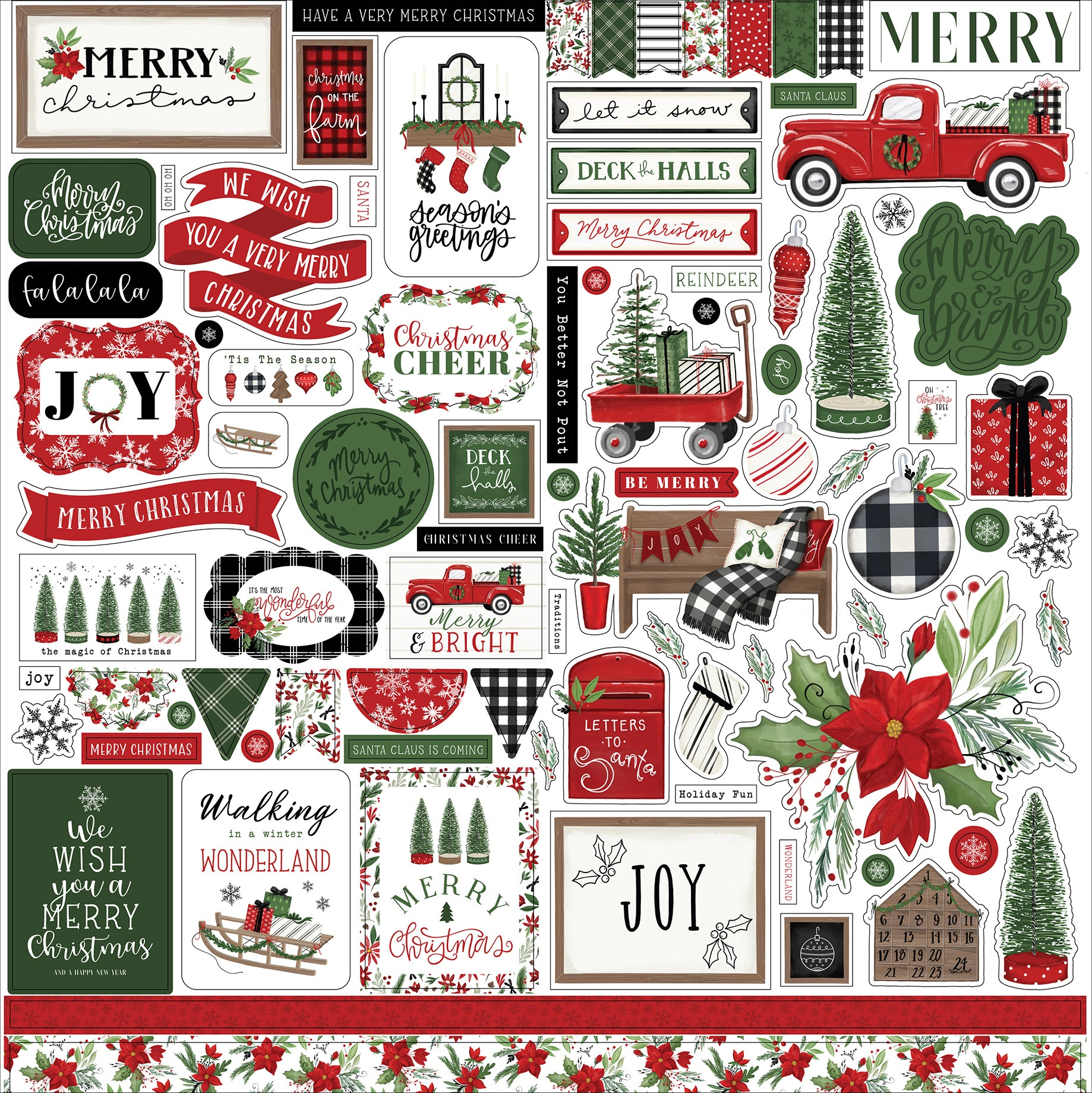 Carta Bella - Home For Christmas - 12x12 Element Sticker Sheet