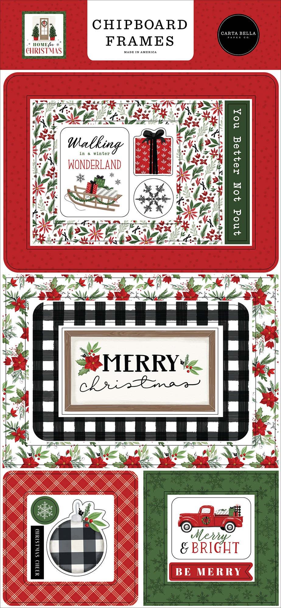 Home For Christmas Chipboard 6X13- Frames
