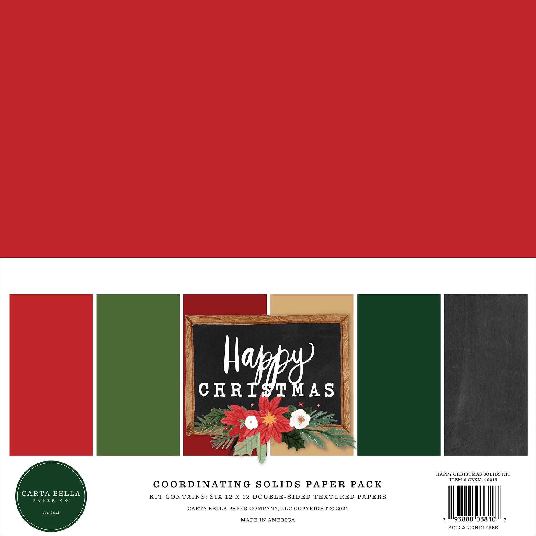 Carta Bella  - Happy Christmas - 12x12 Coordinating Solids Paper Pack