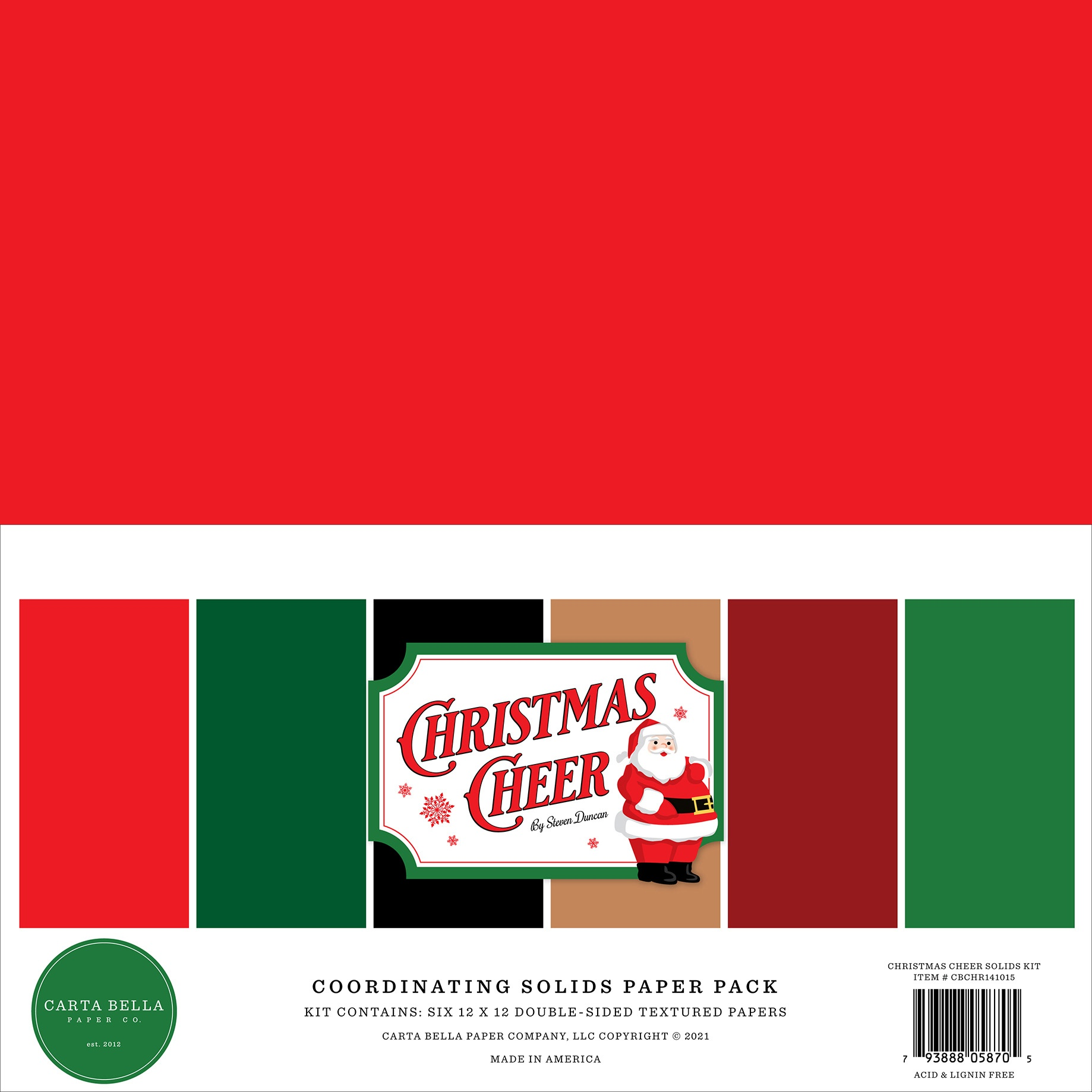 Carta Bella Double-Sided Solid Cardstock 12X12 6/Pkg-Christmas Cheer, 6 Colors